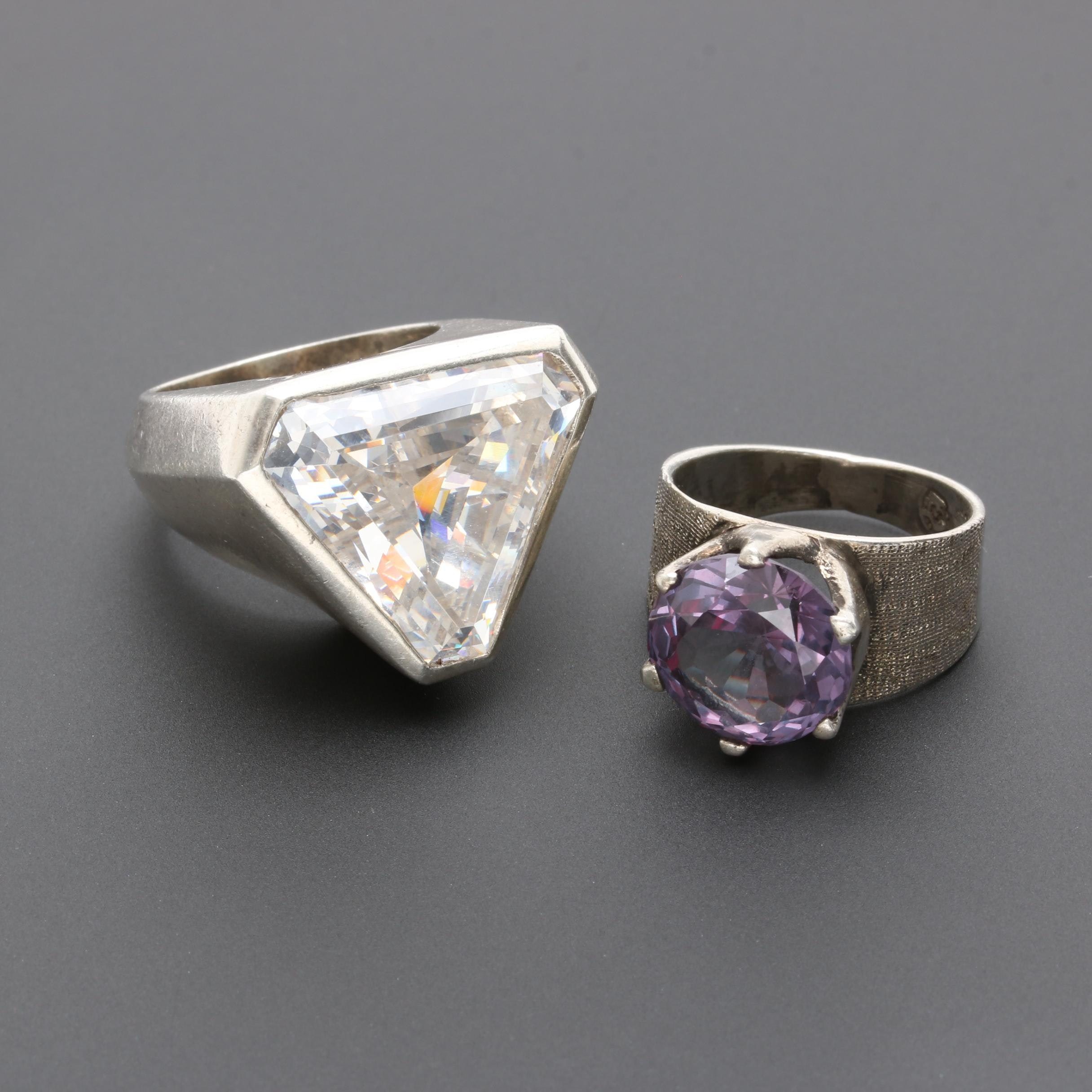 Sterling Silver Synthetic Color Change Sapphire and Cubic Zirconia Rings