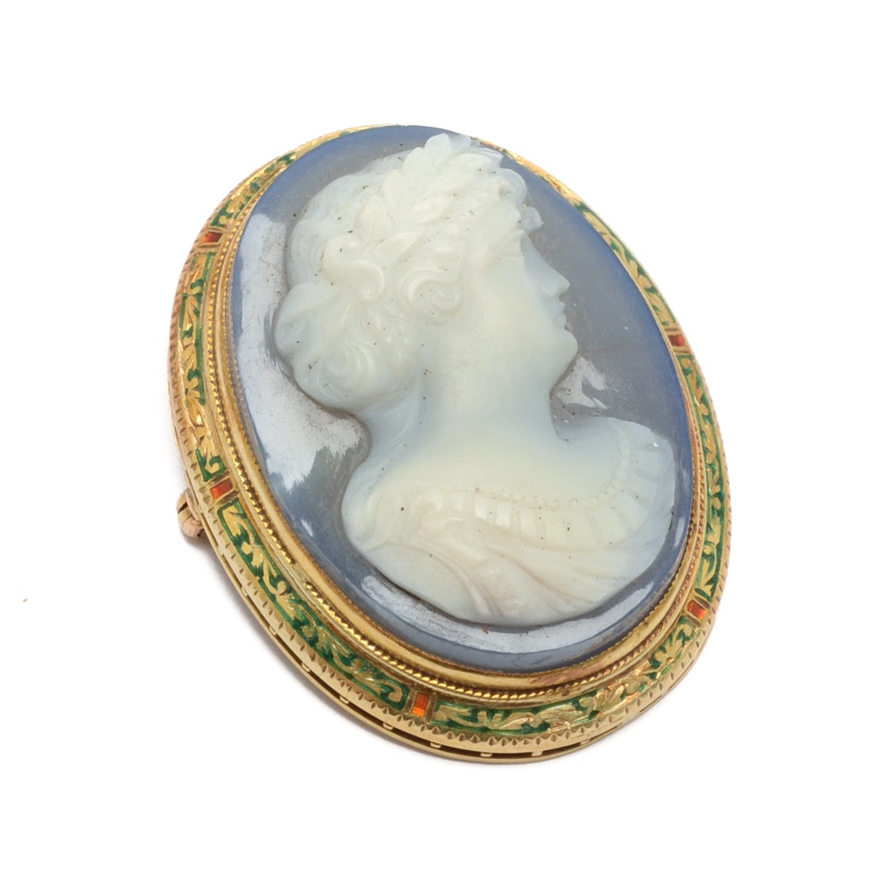 14K Yellow Gold Agate Cameo Brooch