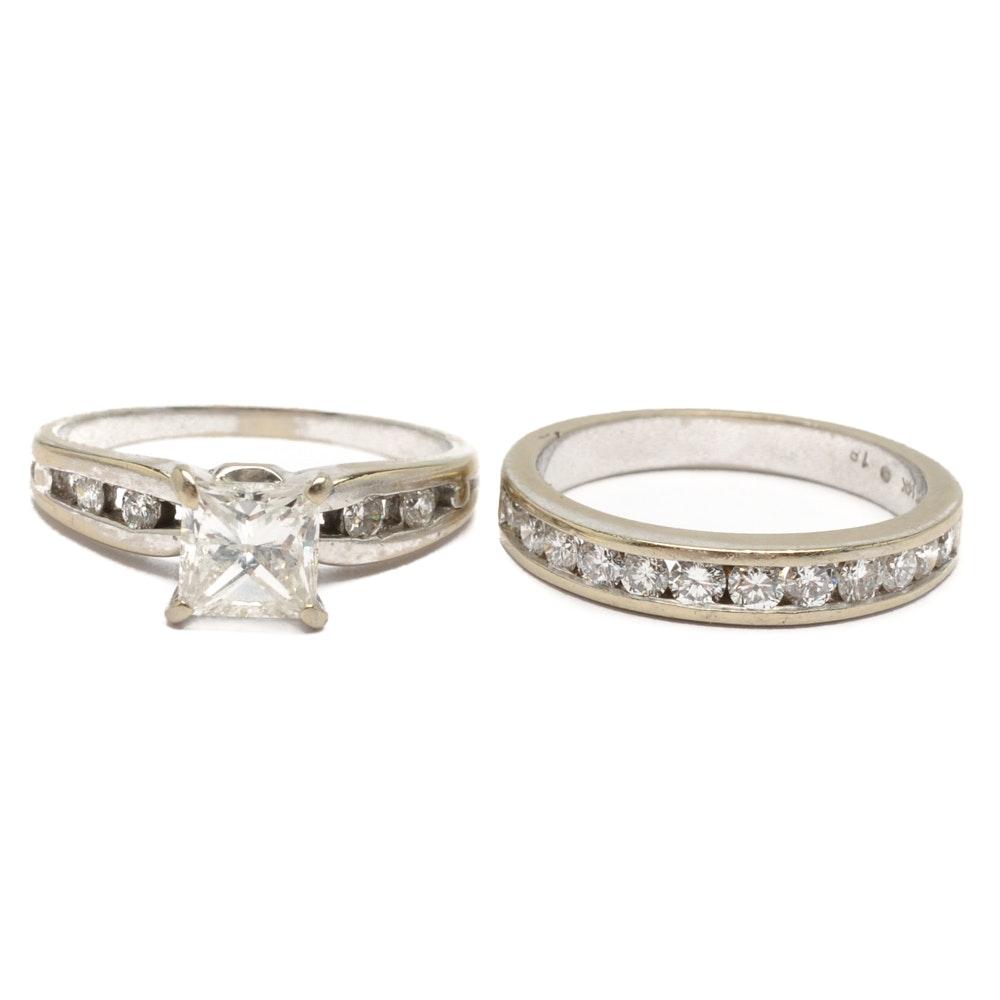 14K White Gold 1.83 CTW Diamond Ring Set