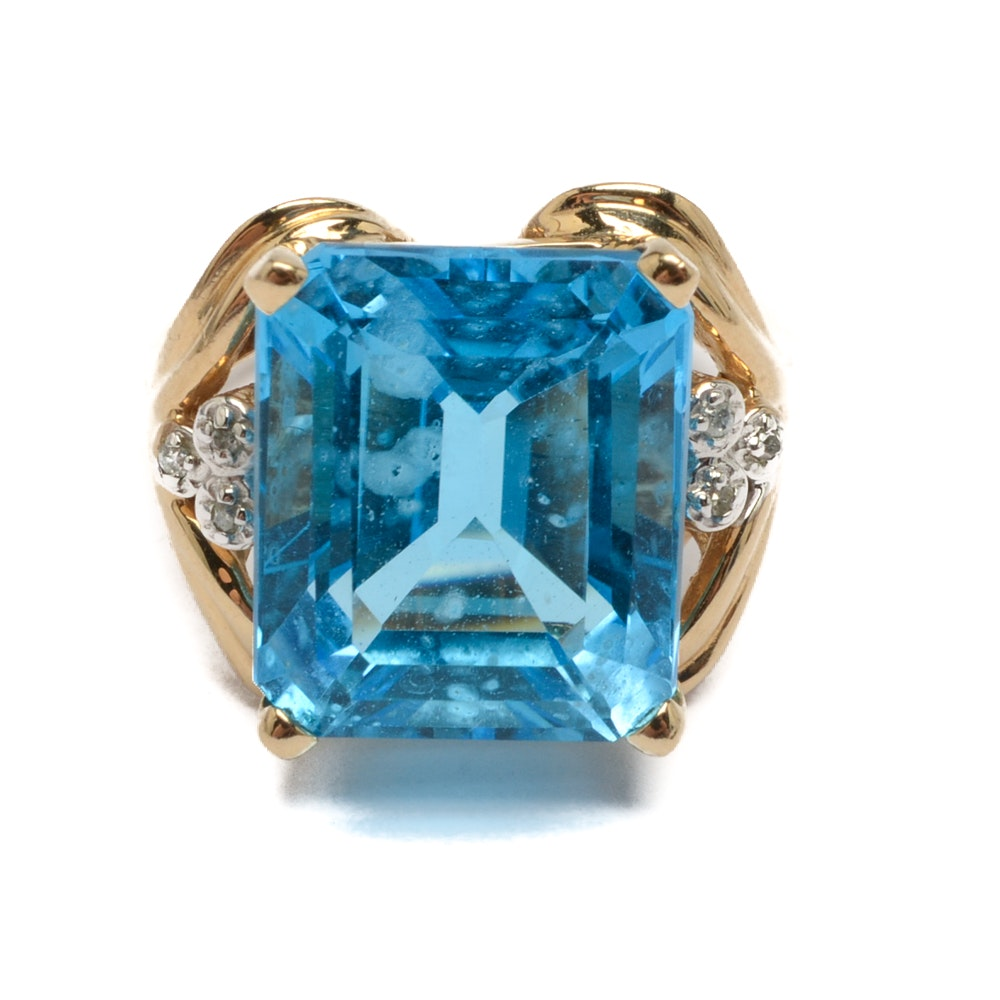 Clyde Duneier 10K Yellow Gold 12.50 CT Blue Topaz and Diamond Ring