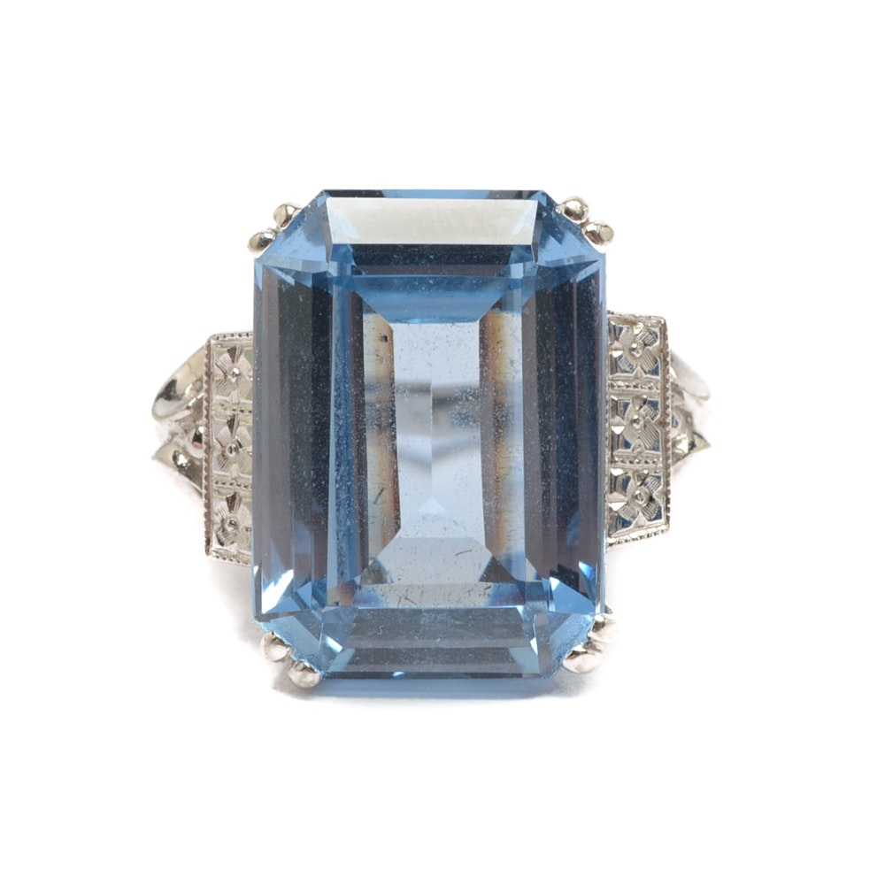 10K White Gold Synthetic Blue Spinel Ring