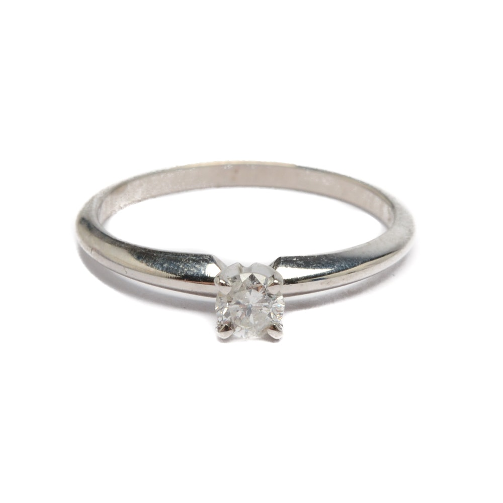 10K White Gold Diamond Solitaire Ring