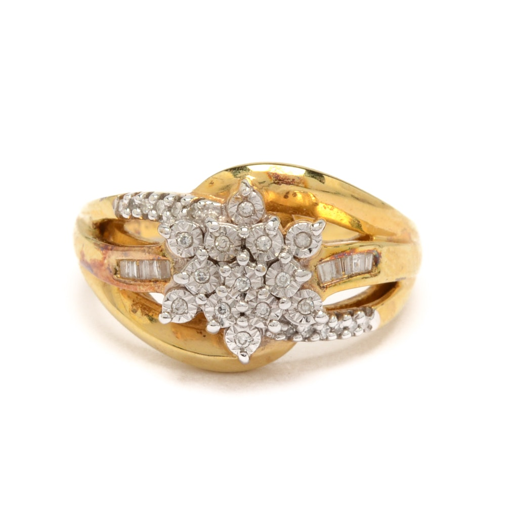 Sterling Silver with Gold Wash Diamond Ring
