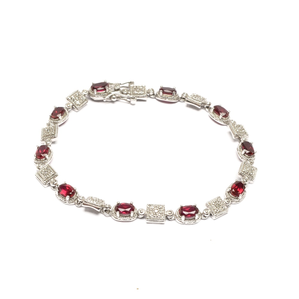 Sterling Silver Synthetic Ruby and Diamond Bracelet