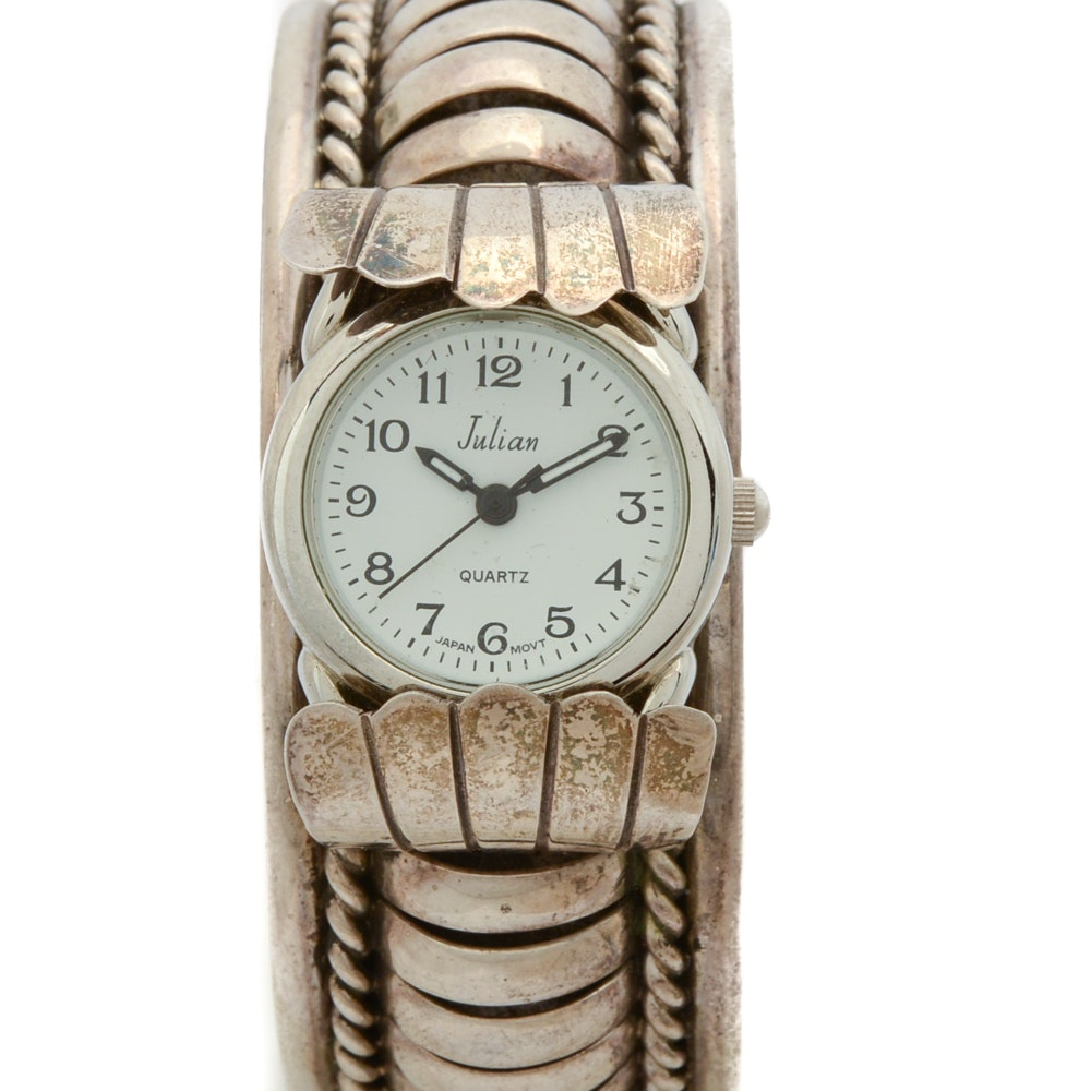 Pricilla Apacheto Navajo Diné Sterling Silver Cuff Wristwatch with Julian Watch