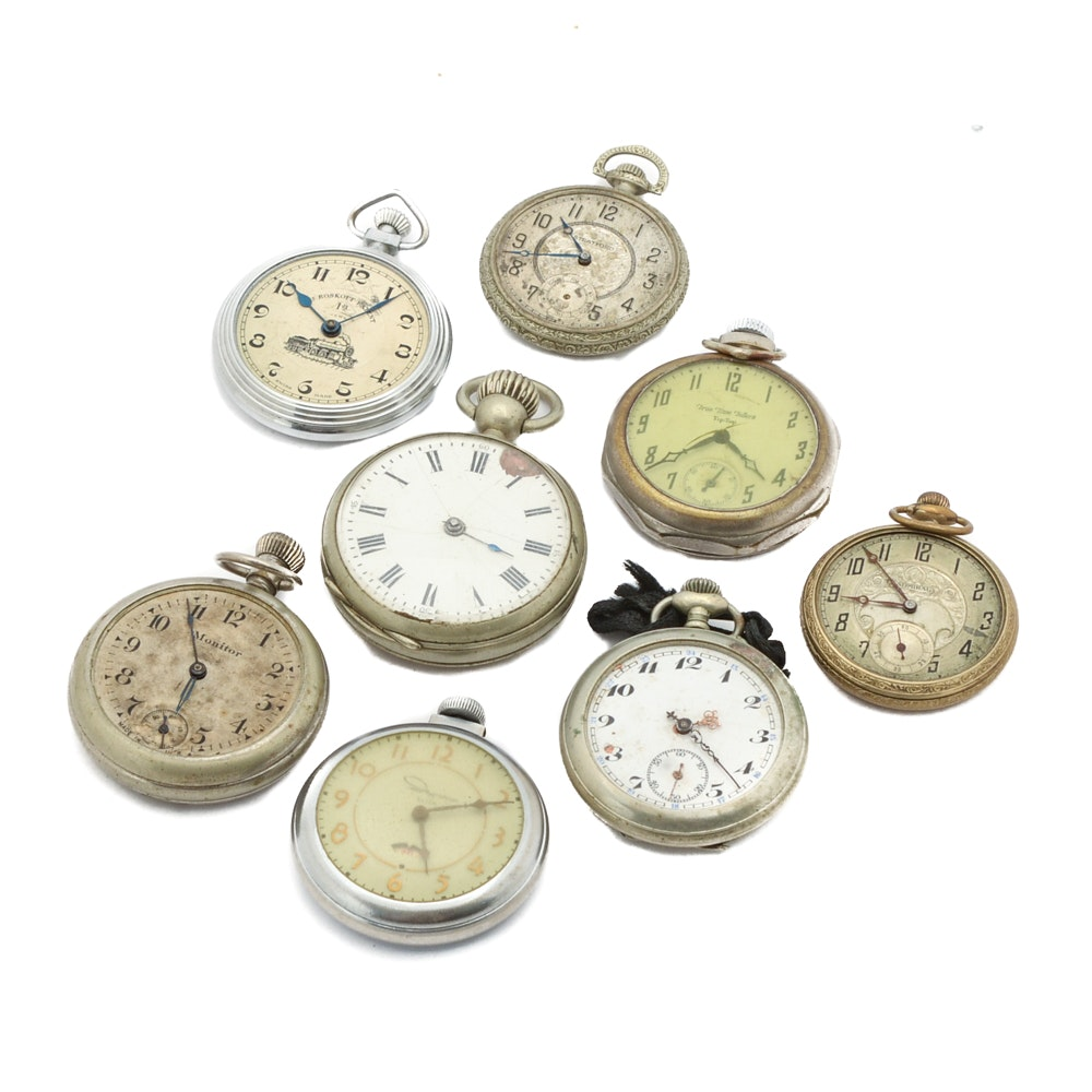 Assorted Open Face Stem Wind Pocket Watches, Including Ingraham