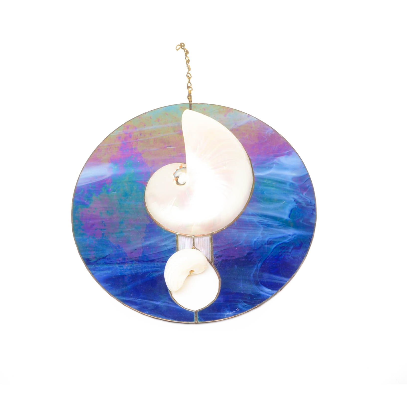 Decorative Nautilus Shell And Blue Art Glass Sun Catcher