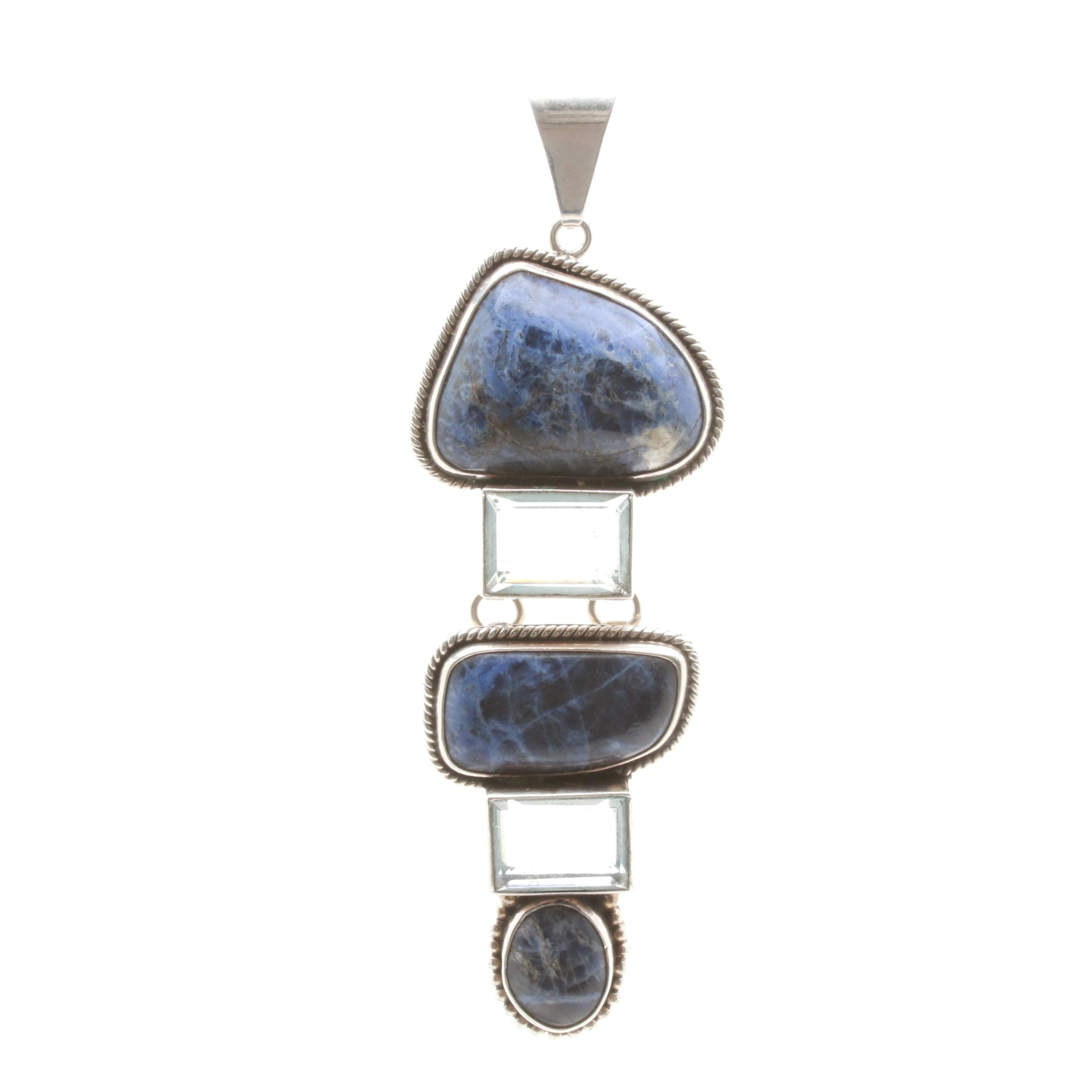 Mexican Sterling Silver Sodalite and Glass Pendant