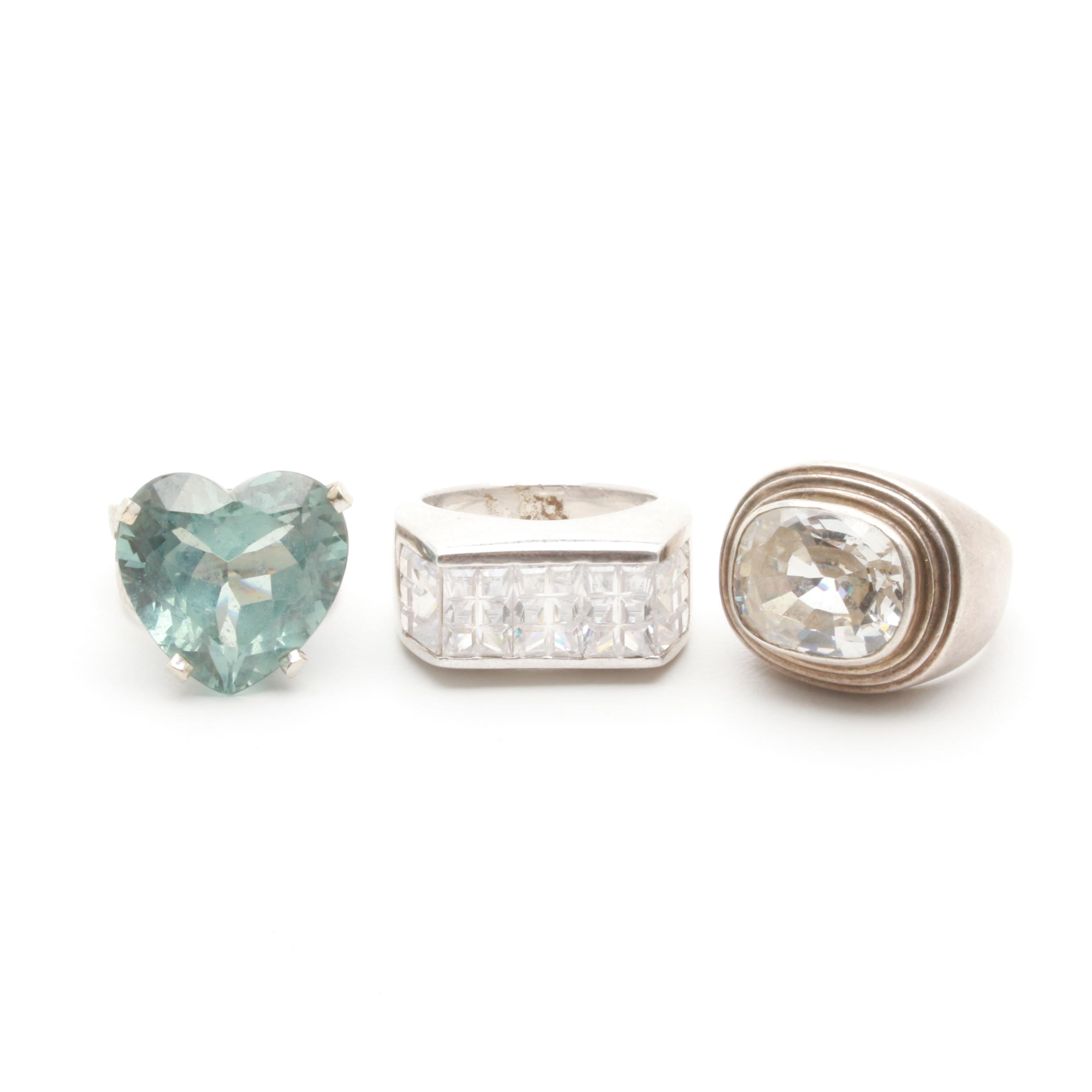 Sterling Silver Ring Selection Including Blue Topaz and Cubic Zirconia