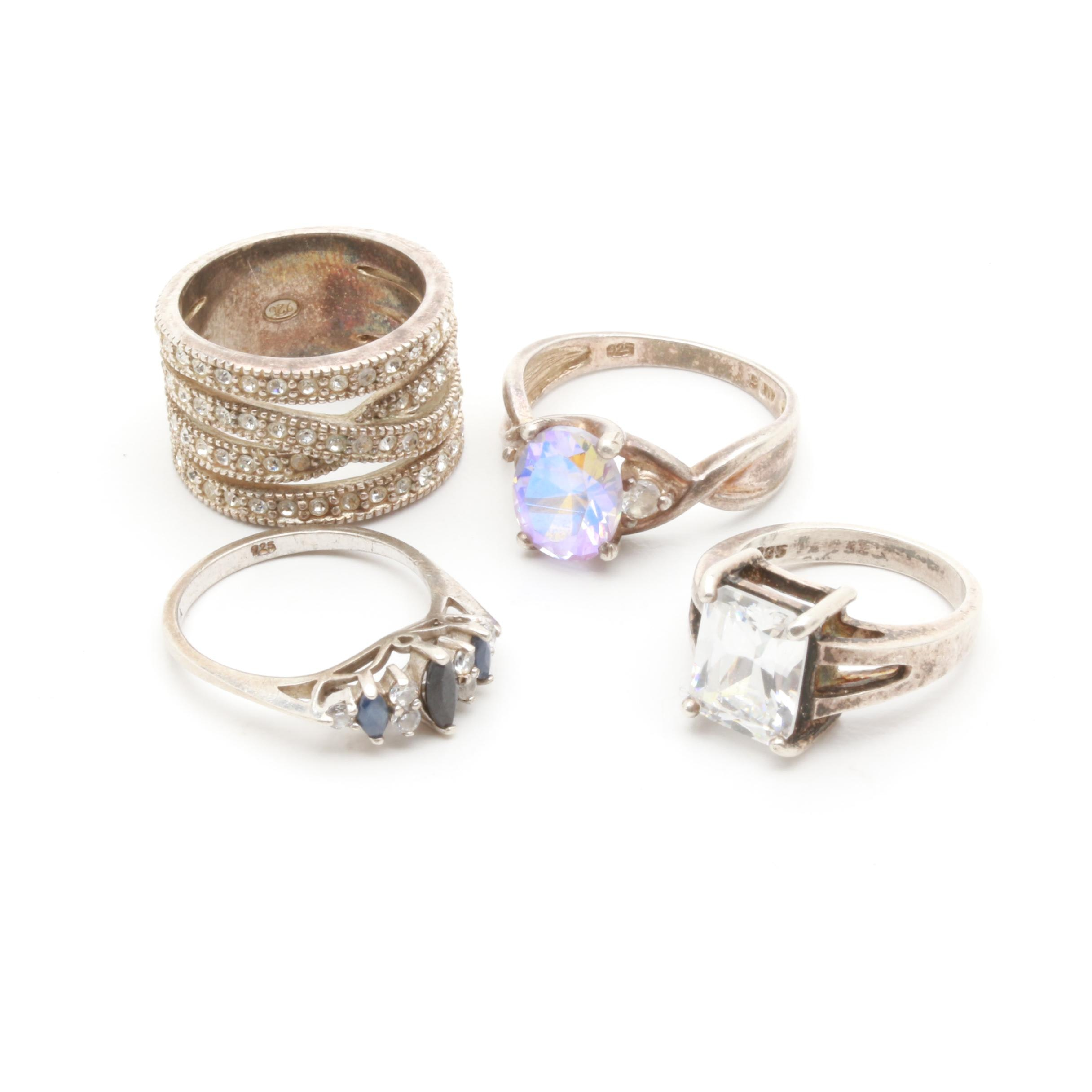 Sterling Silver Ring Selection Including Sapphire, Cubic Zirconia, and Glass