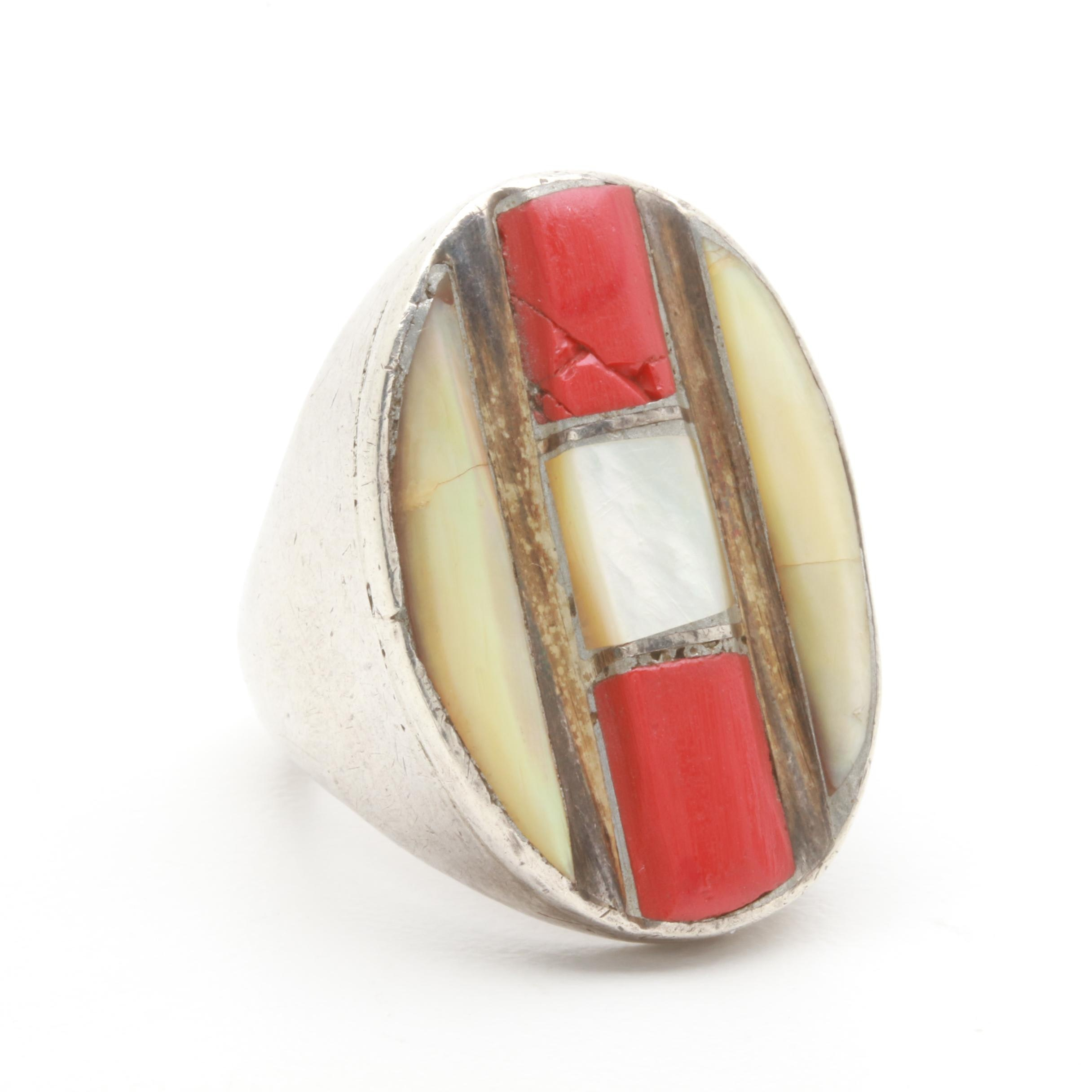 Sterling Silver Mother of Pearl and Coral Ring
