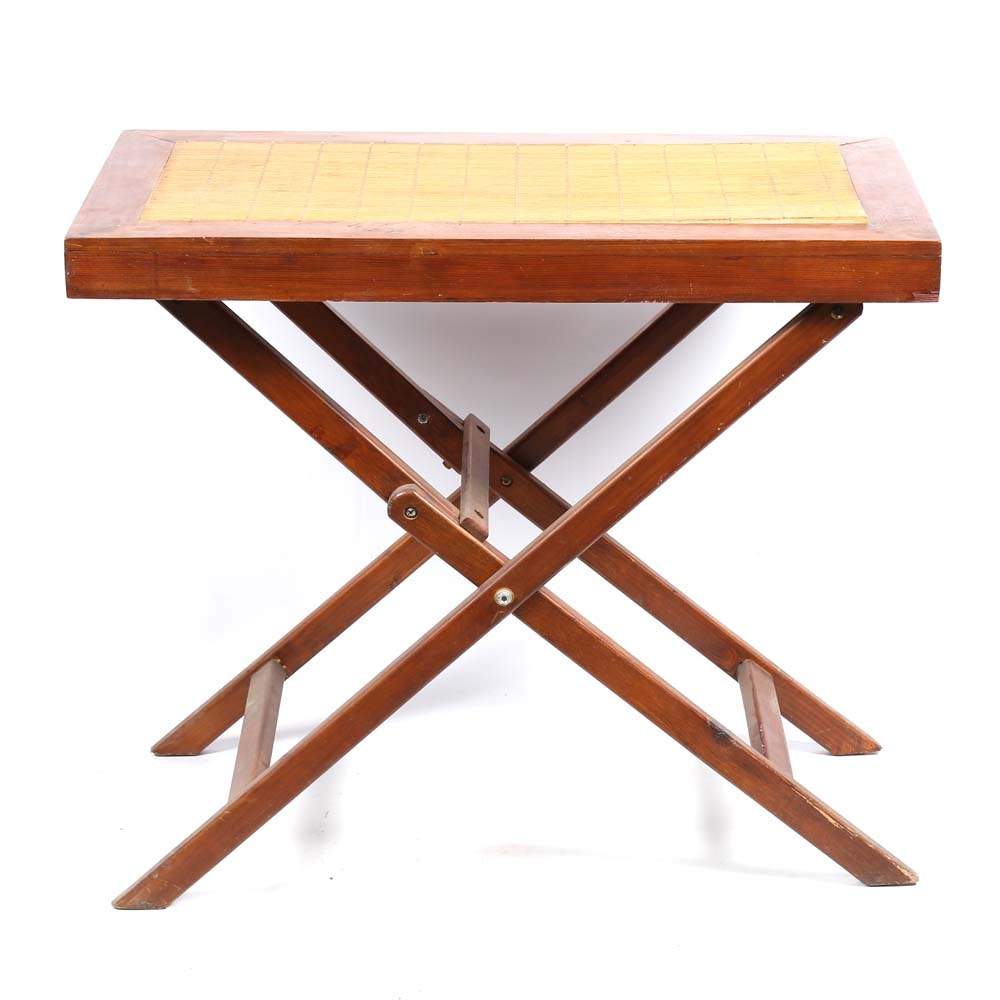 Bamboo Top Folding Accent Table