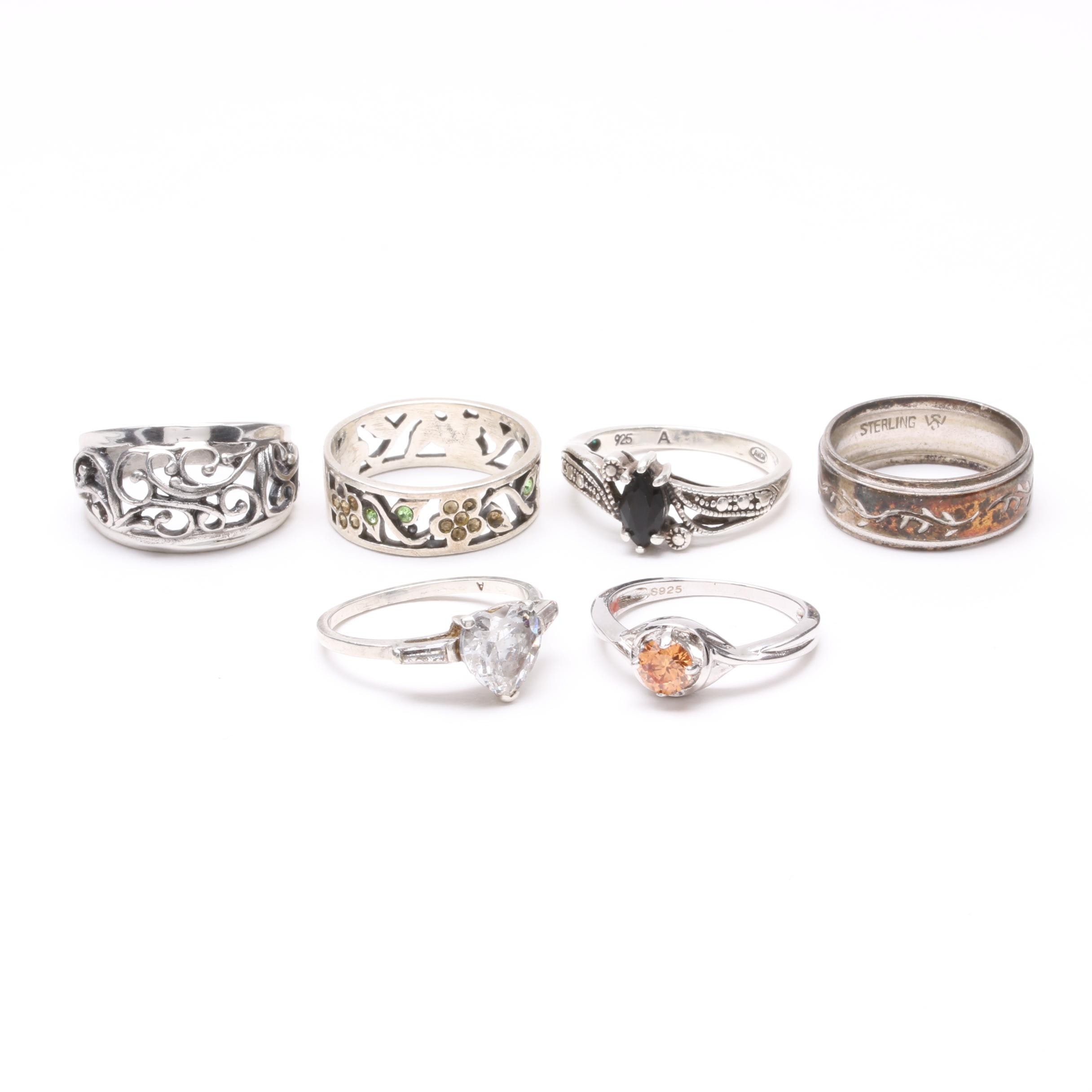 Sterling Silver Ring Collection Including Glass and Cubic Zirconia