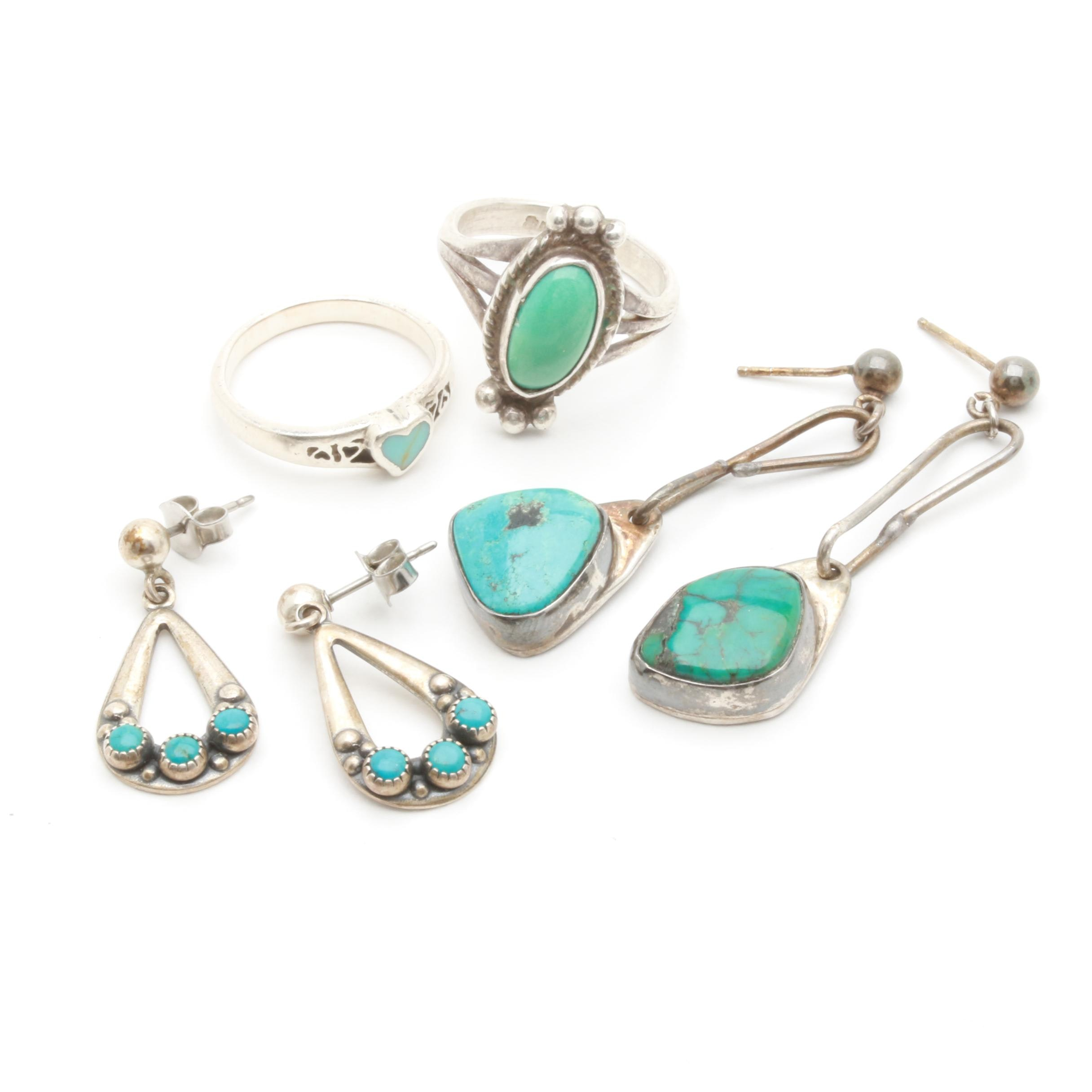 Sterling Silver Jewelry Assortment Including Turquoise and Imitation Turquoise