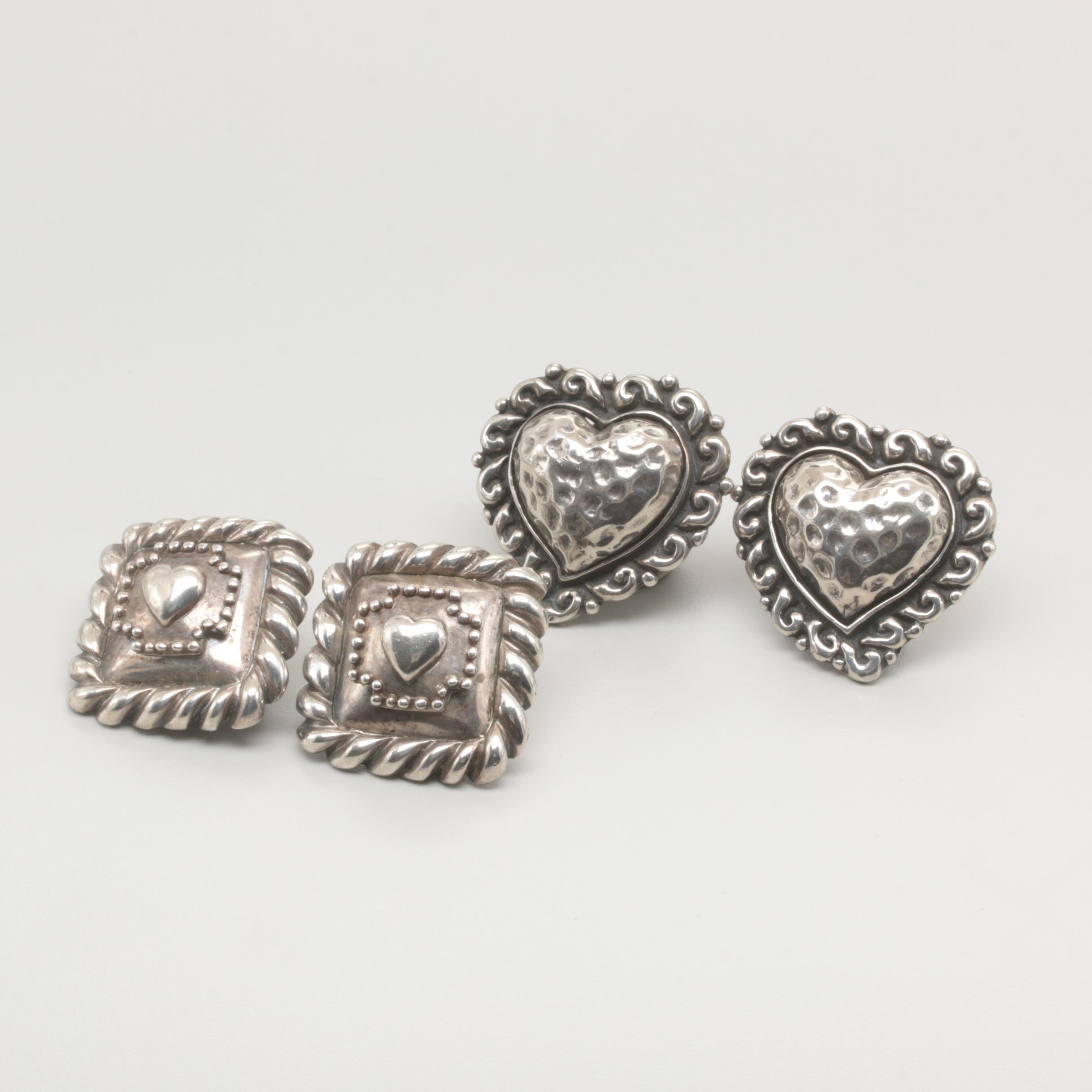 Sterling Silver Clip-On Earring Selection Featuring Heart Motifs by Dian Malouf