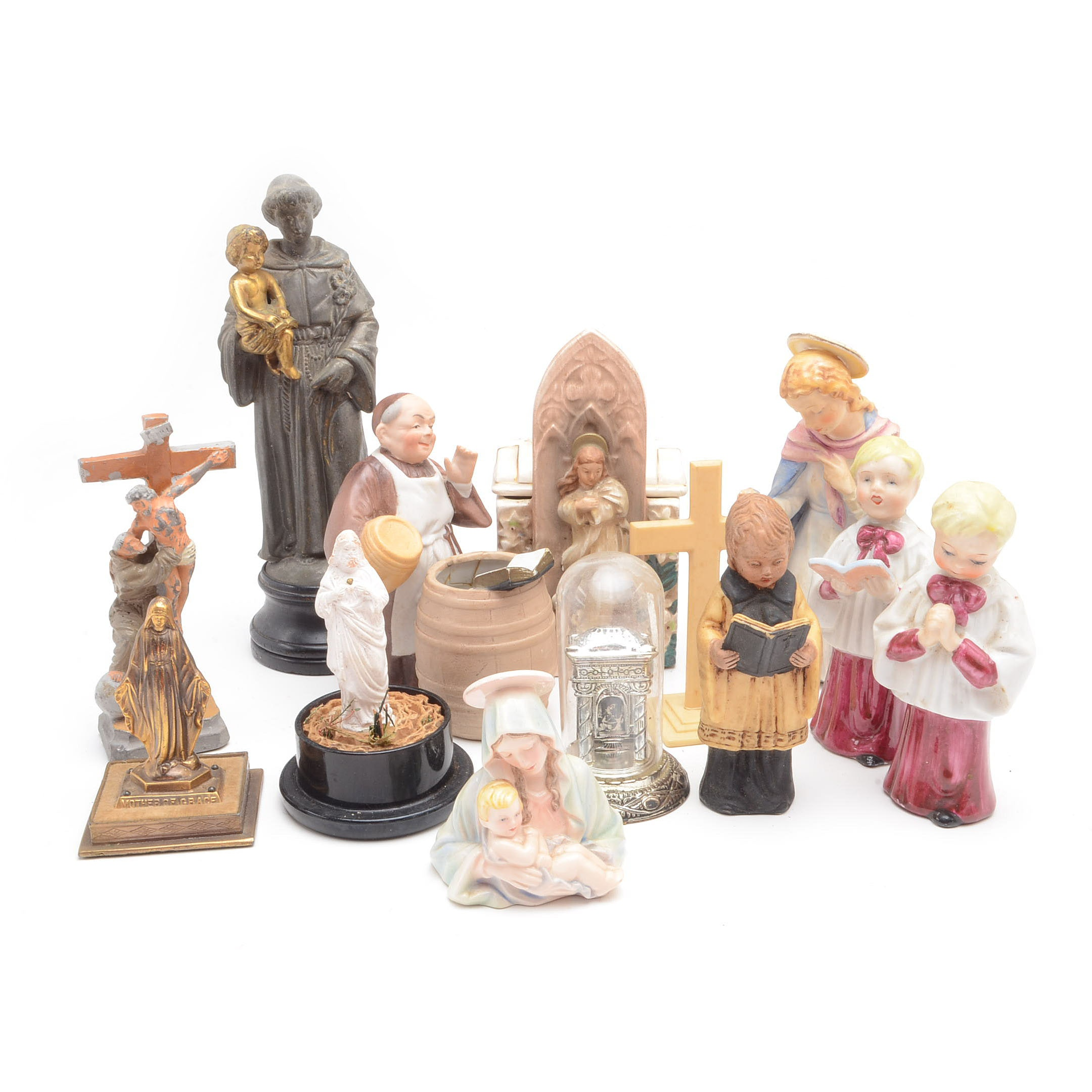 Collection of Religious Figurines, Including Vintage M. I. Hummel