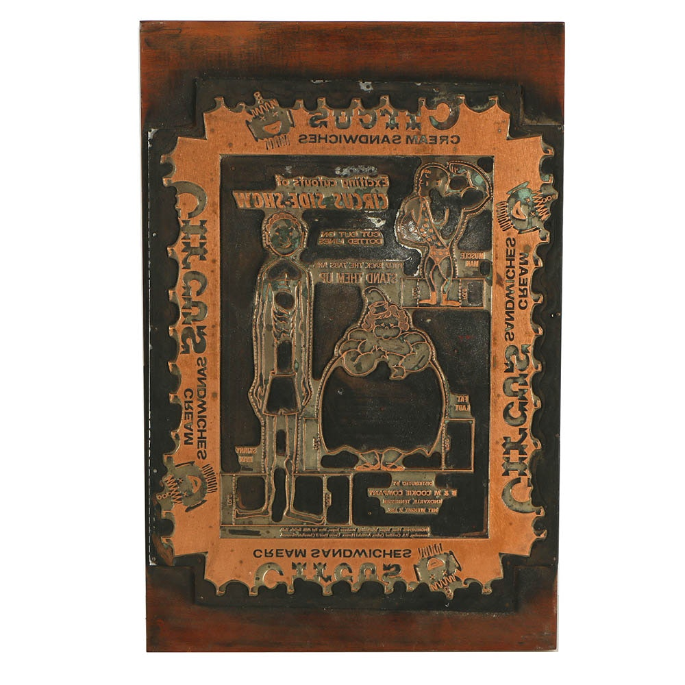 Etched Copper Printing Plate for Circus Cream Sandwiches