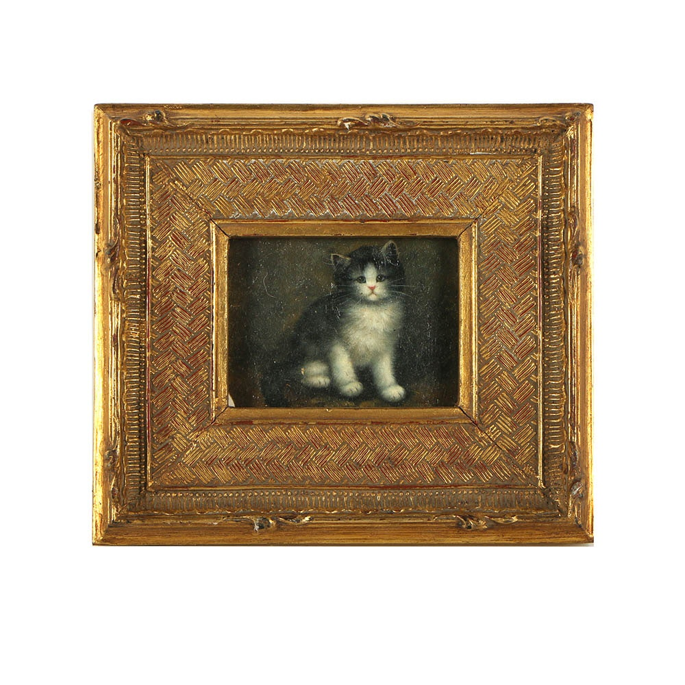 Early 20th Century Offset Lithograph of Kitten