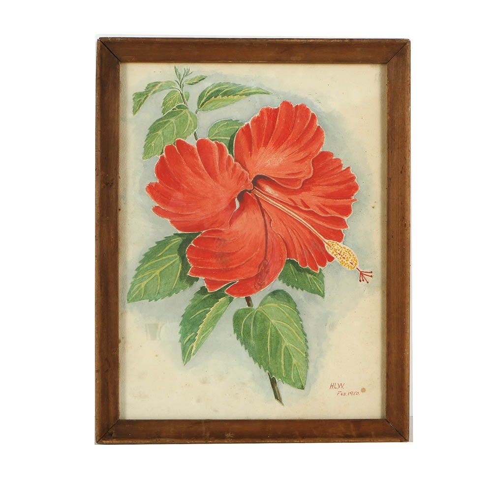 H.L.W Watercolor Painting of a Hibiscus