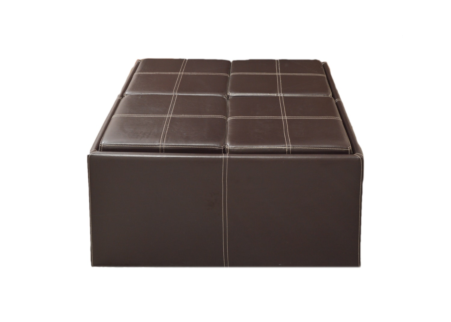 Faux Leather Ottoman with Trays and Hidden Stools