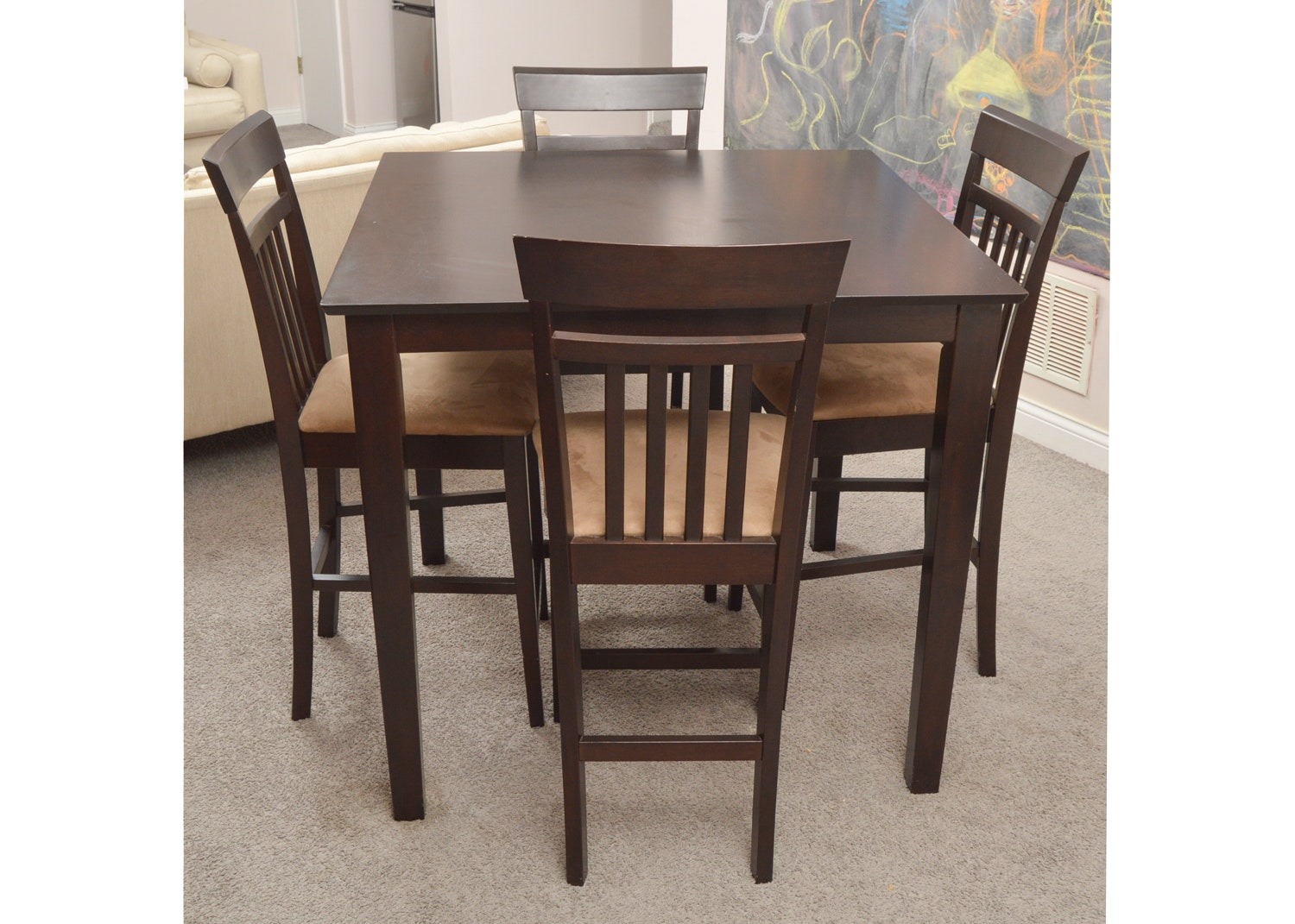 Parsons Style Table with Four Slat Back Chairs