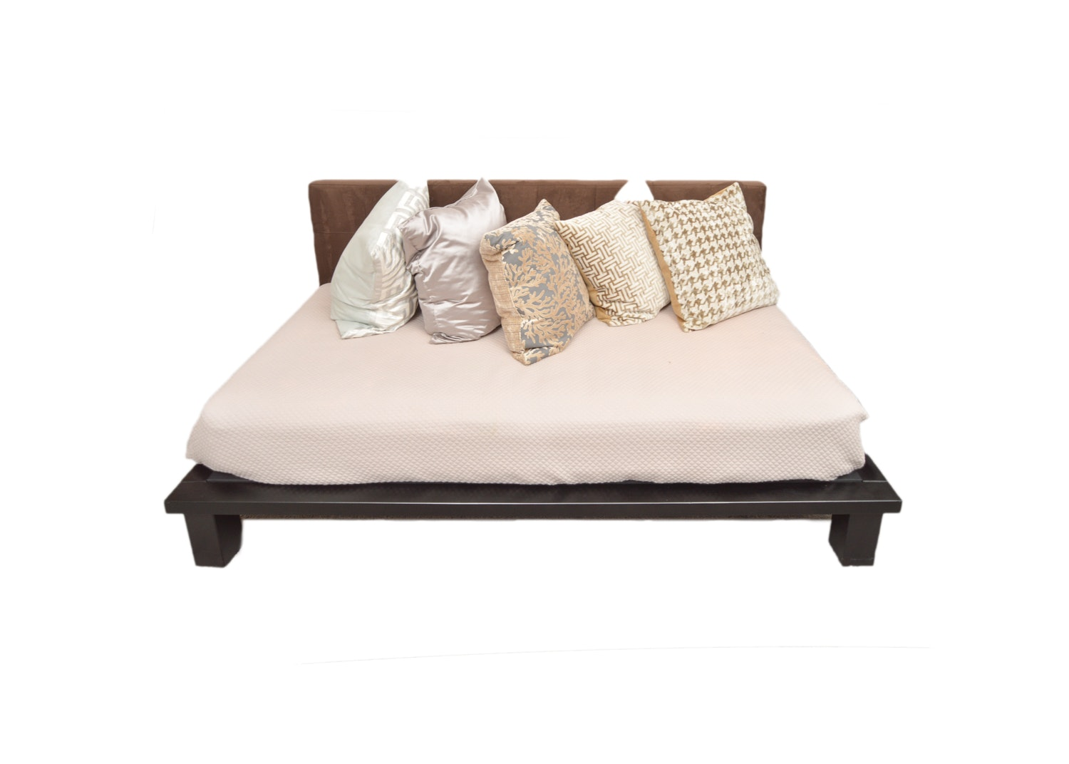 Platform Daybed with Brown Microsuede Backboard