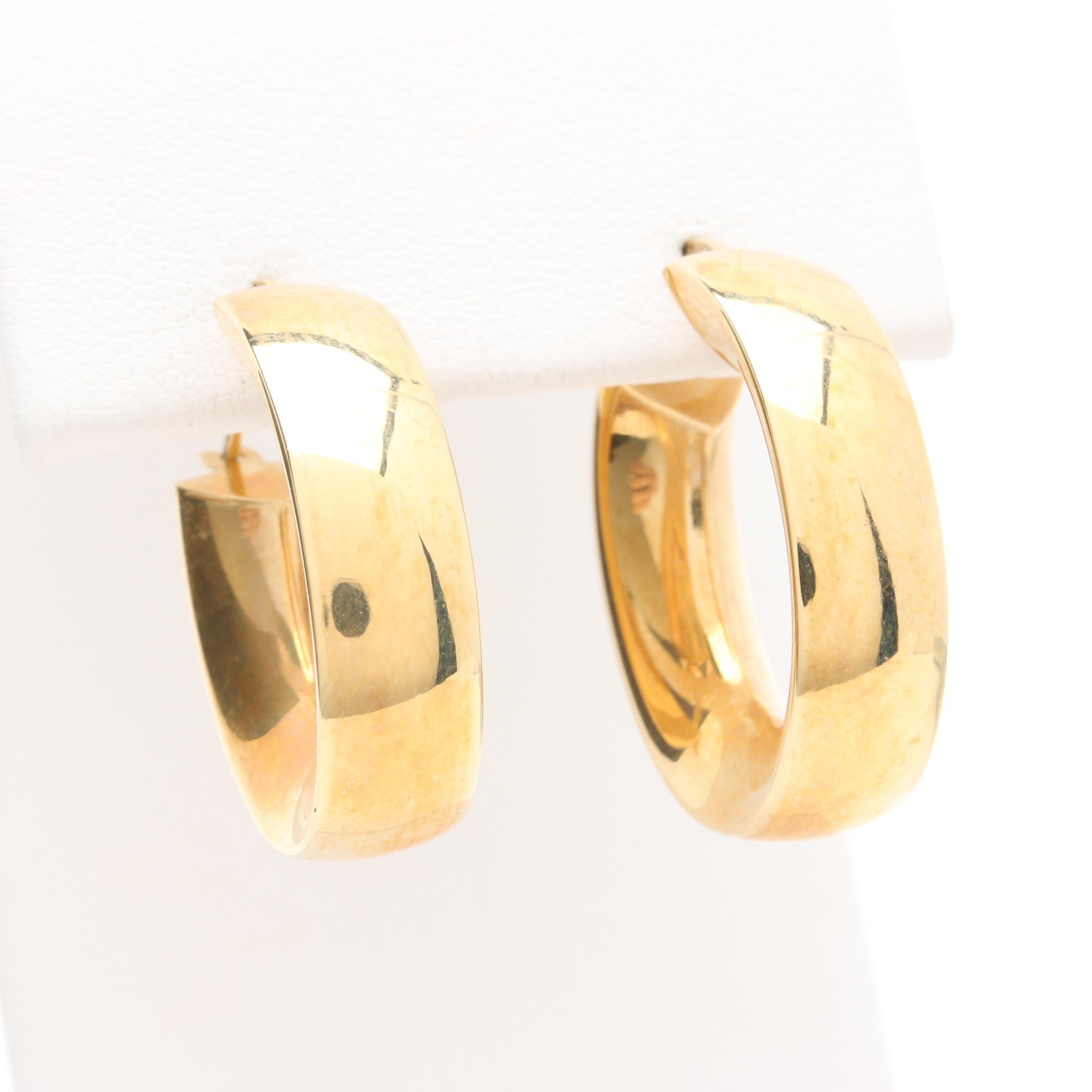 Milor 18K Yellow Gold Oval Hoop Earrings