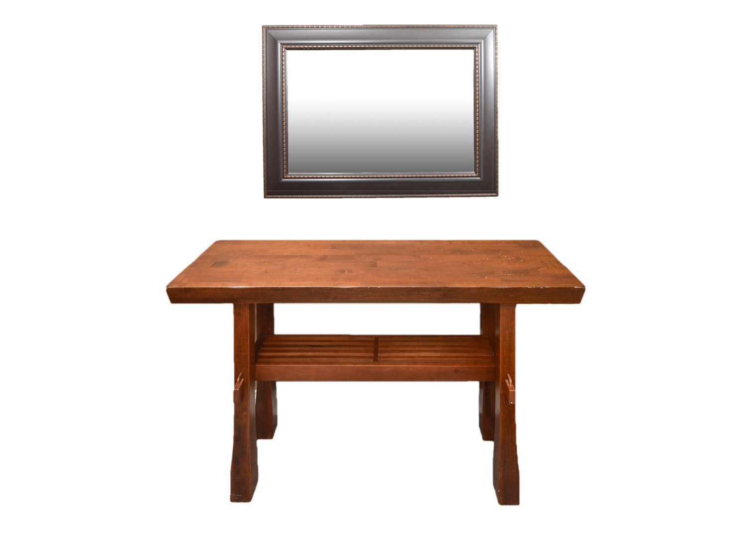 Contemporary Arts and Crafts Style Sofa Table with Rectangular Wall Hang Mirror