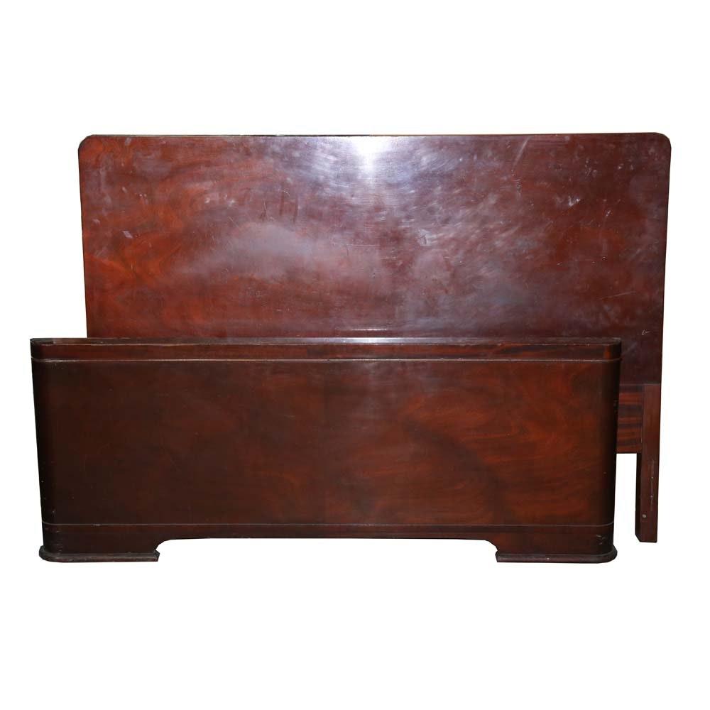Vintage Mahogany Veneer Full Size Bed