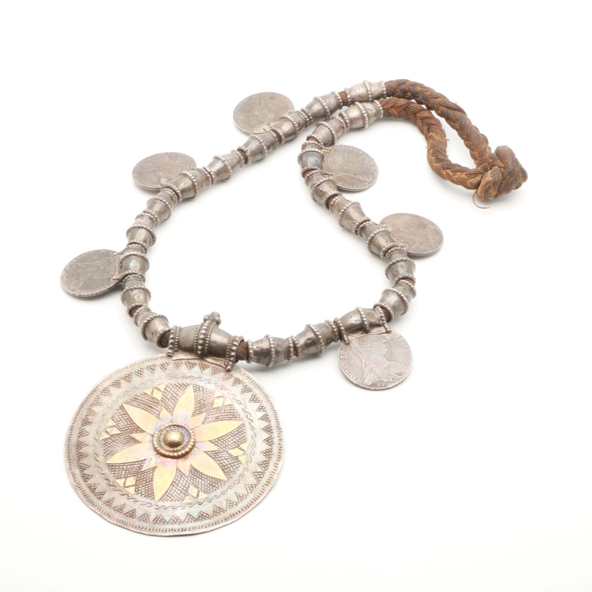 Antique Omani Sterling Silver Somt Necklace with Austrian Restrike Coins