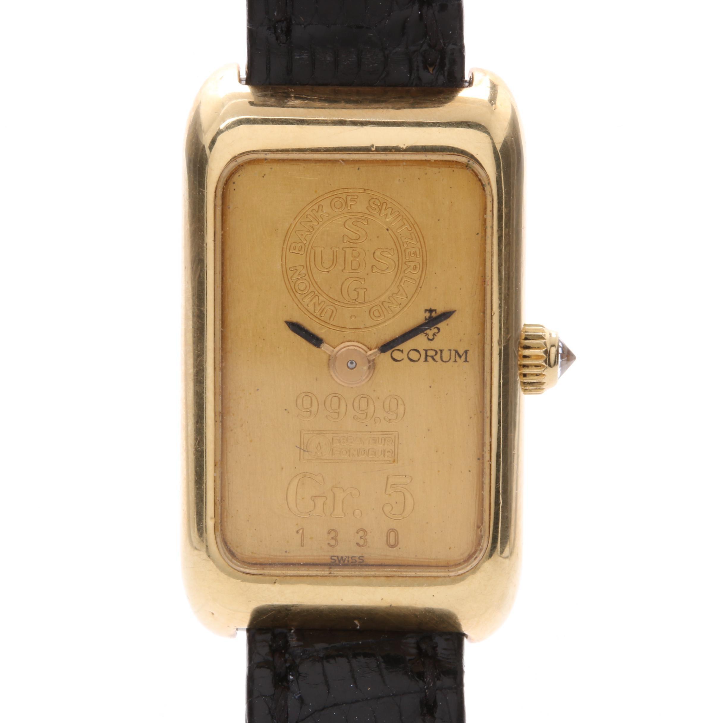 Corum 18K Yellow Gold with .999 Fine Gold Ingot Dial Wristwatch