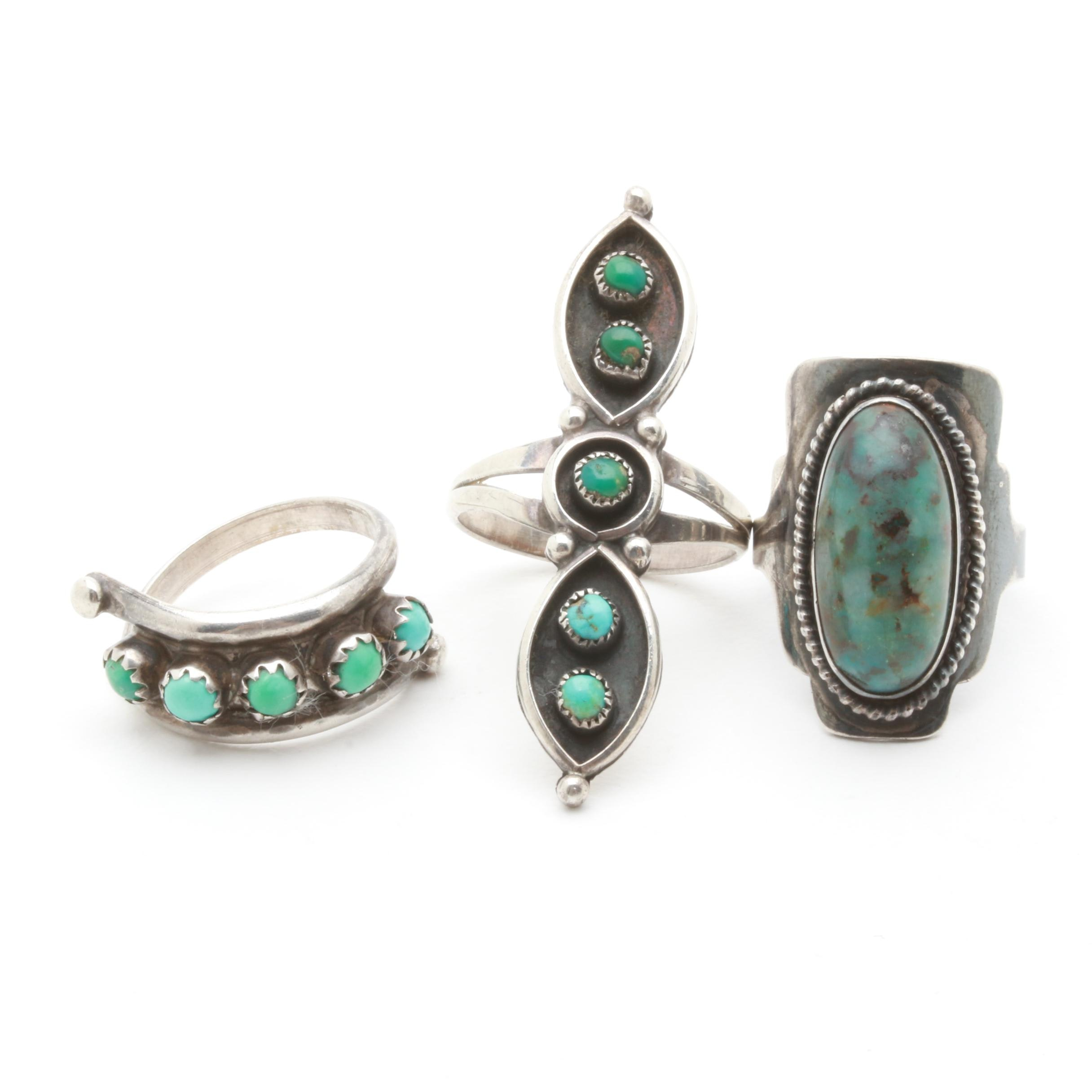 Sterling Silver Ring Assortment Including Chrysocolla with Quartz and Turquoise