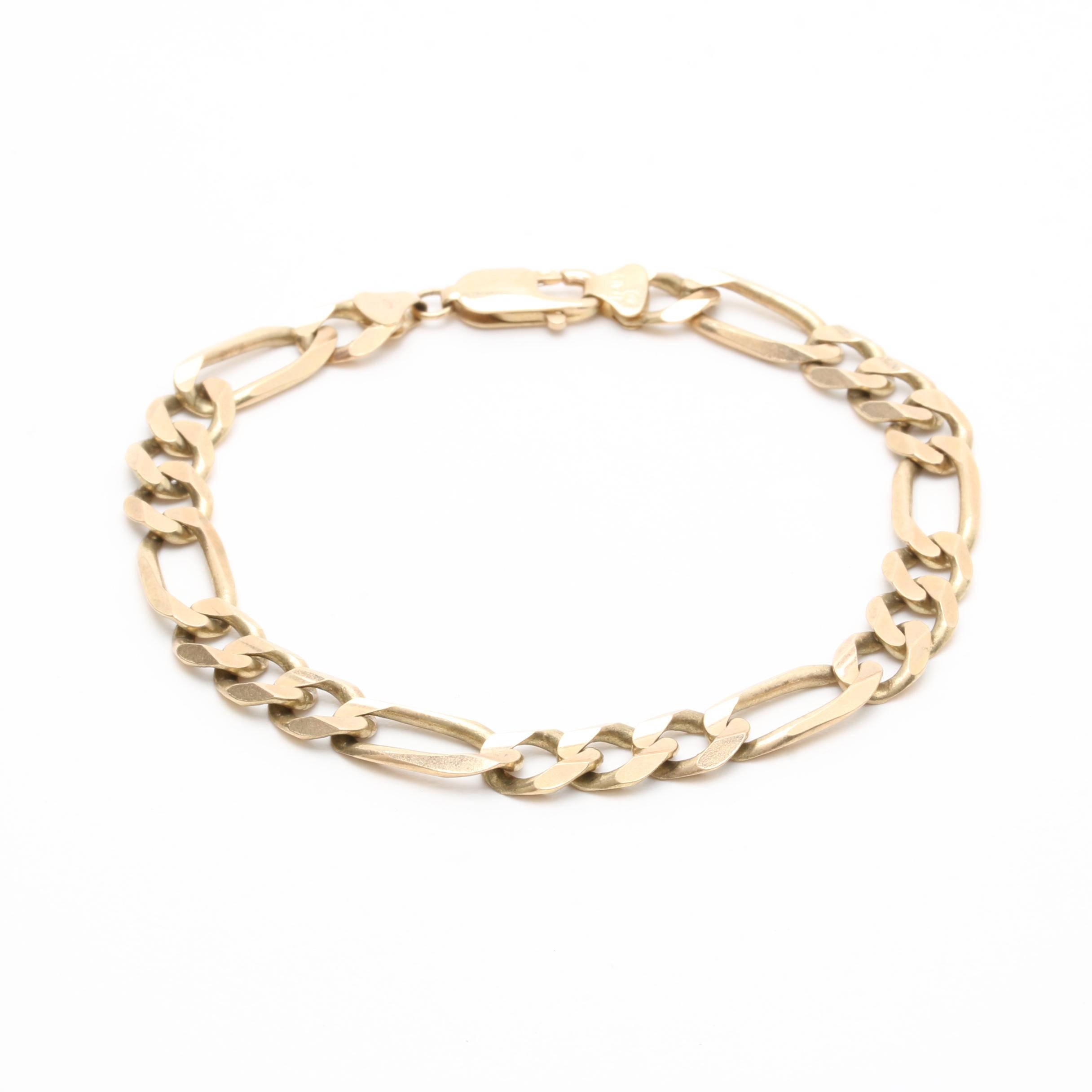 10K Yellow Gold Italian Figaro Link Bracelet