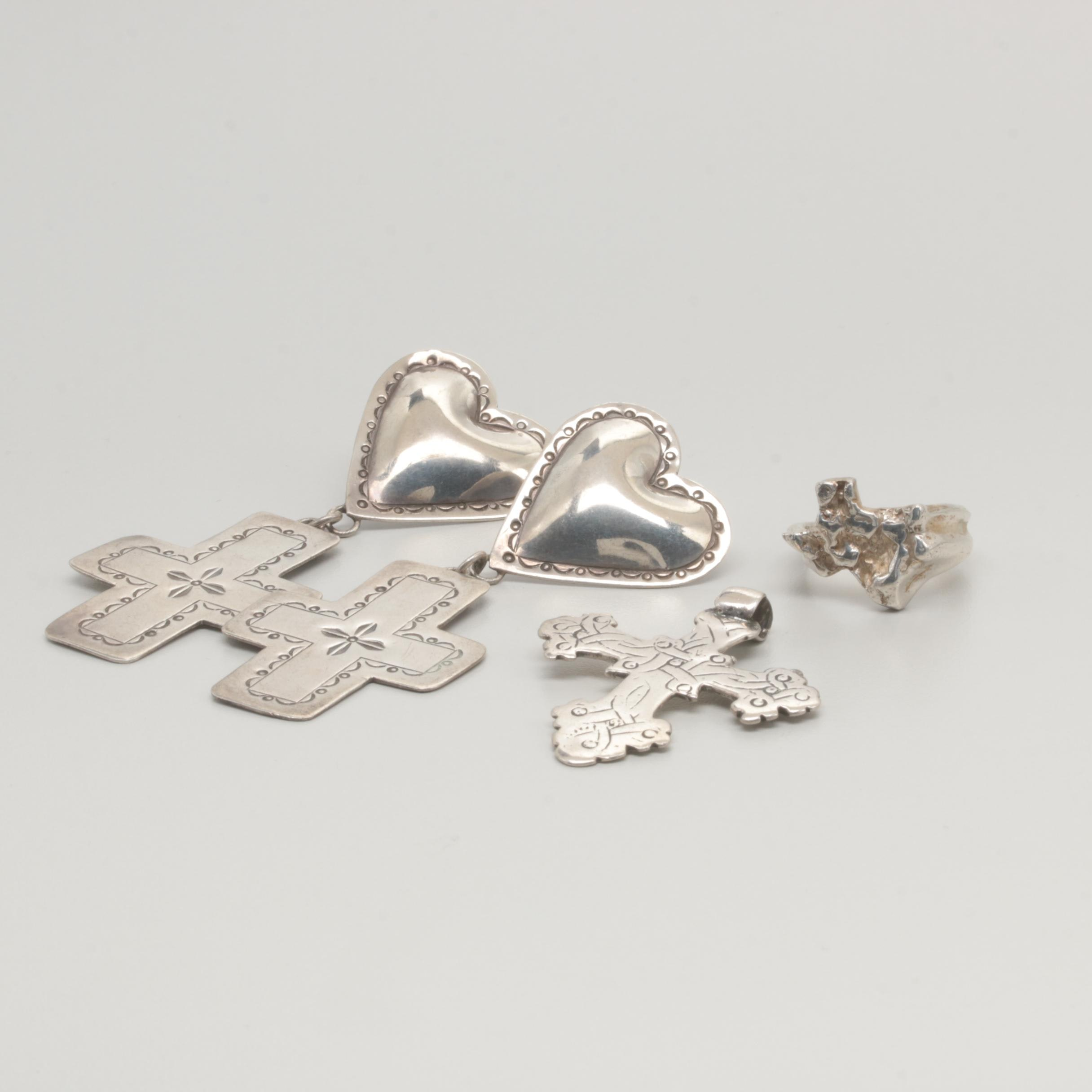 Sterling Silver Jewelry Selection Including Heart and Cross Motifs