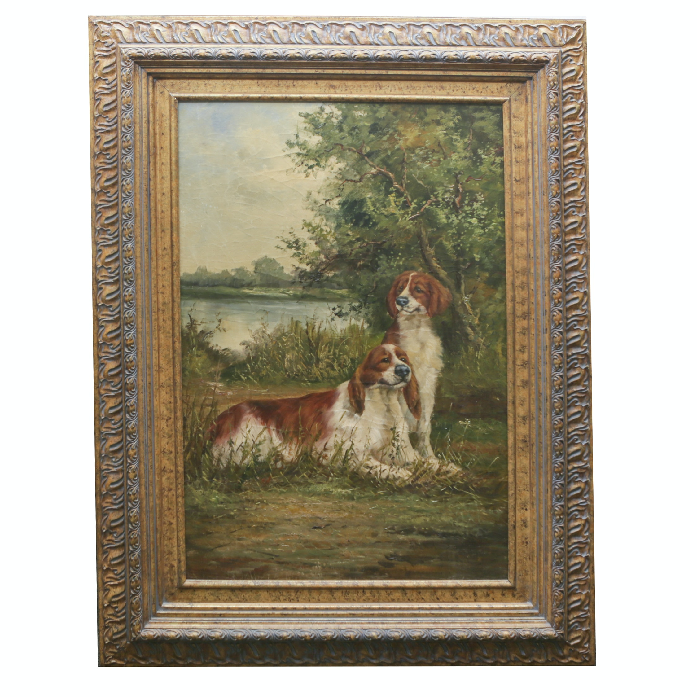 Oil Painting of Hunting Dogs