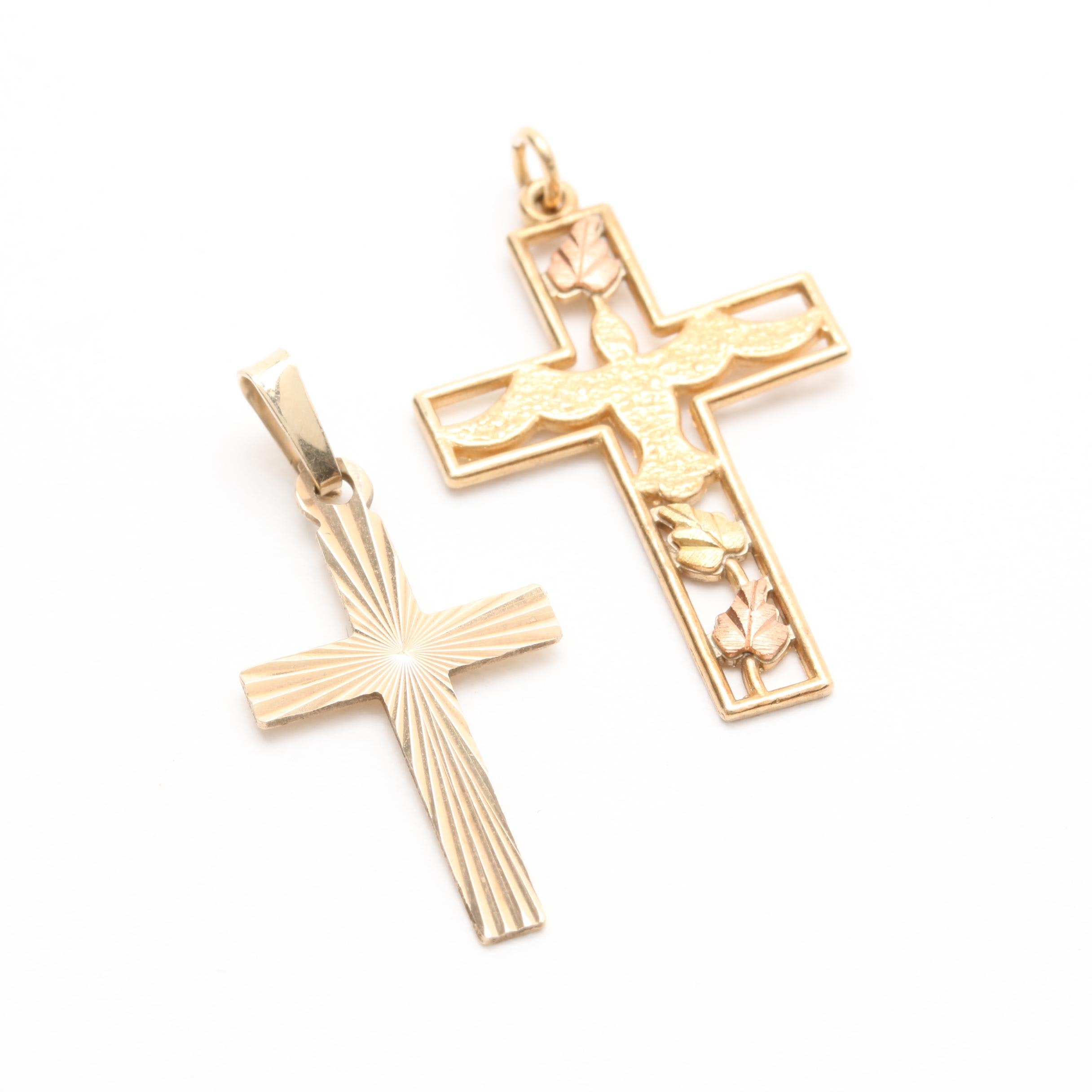 10K Yellow Gold Cross Pendant Selection Including Rose Gold Accents