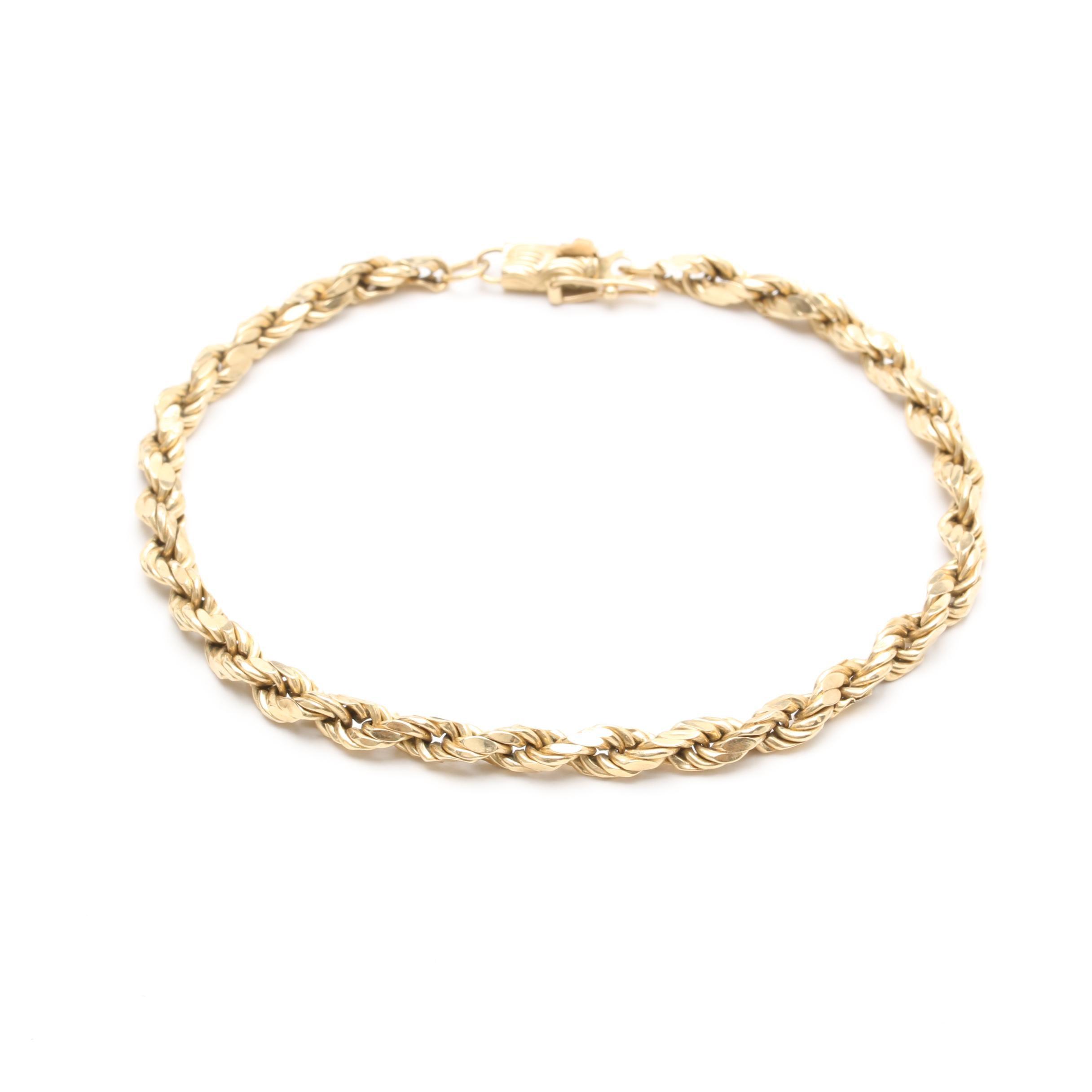 Oroamerica 14K Yellow Gold Rope Link Bracelet