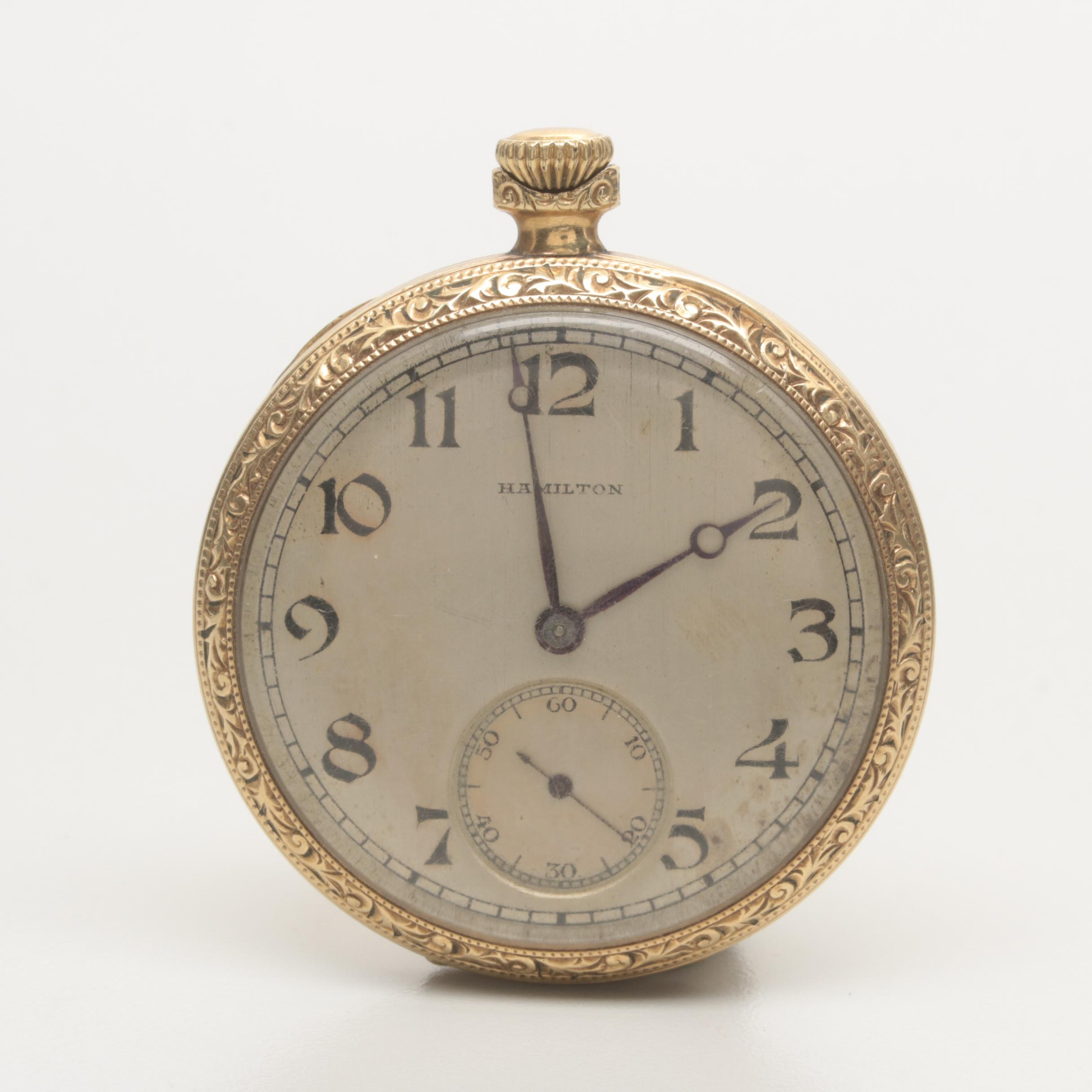 Vintage Hamilton Gold Filled Open Face Pocket Watch