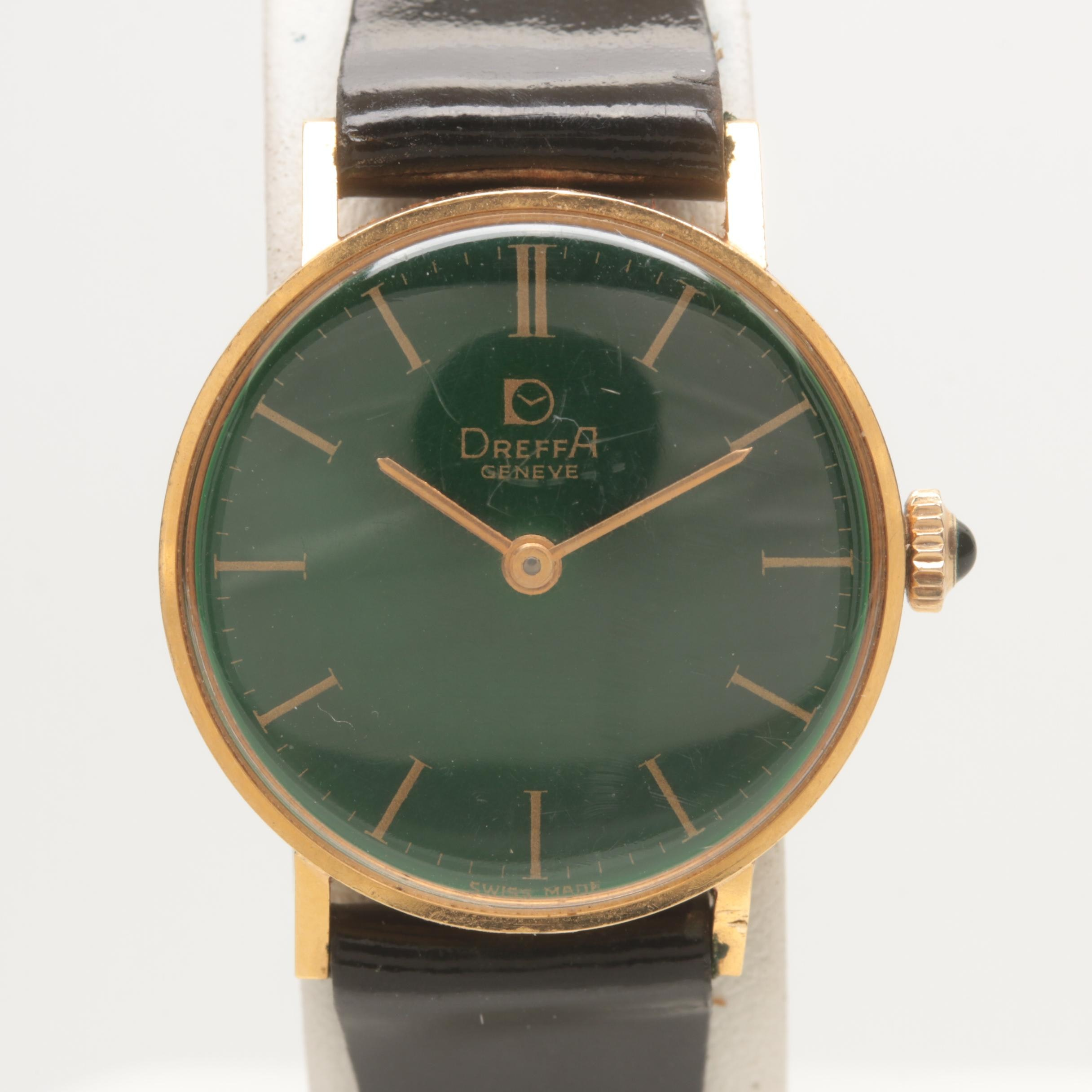 Dreffa 18K Yellow Gold Leather Wristwatch