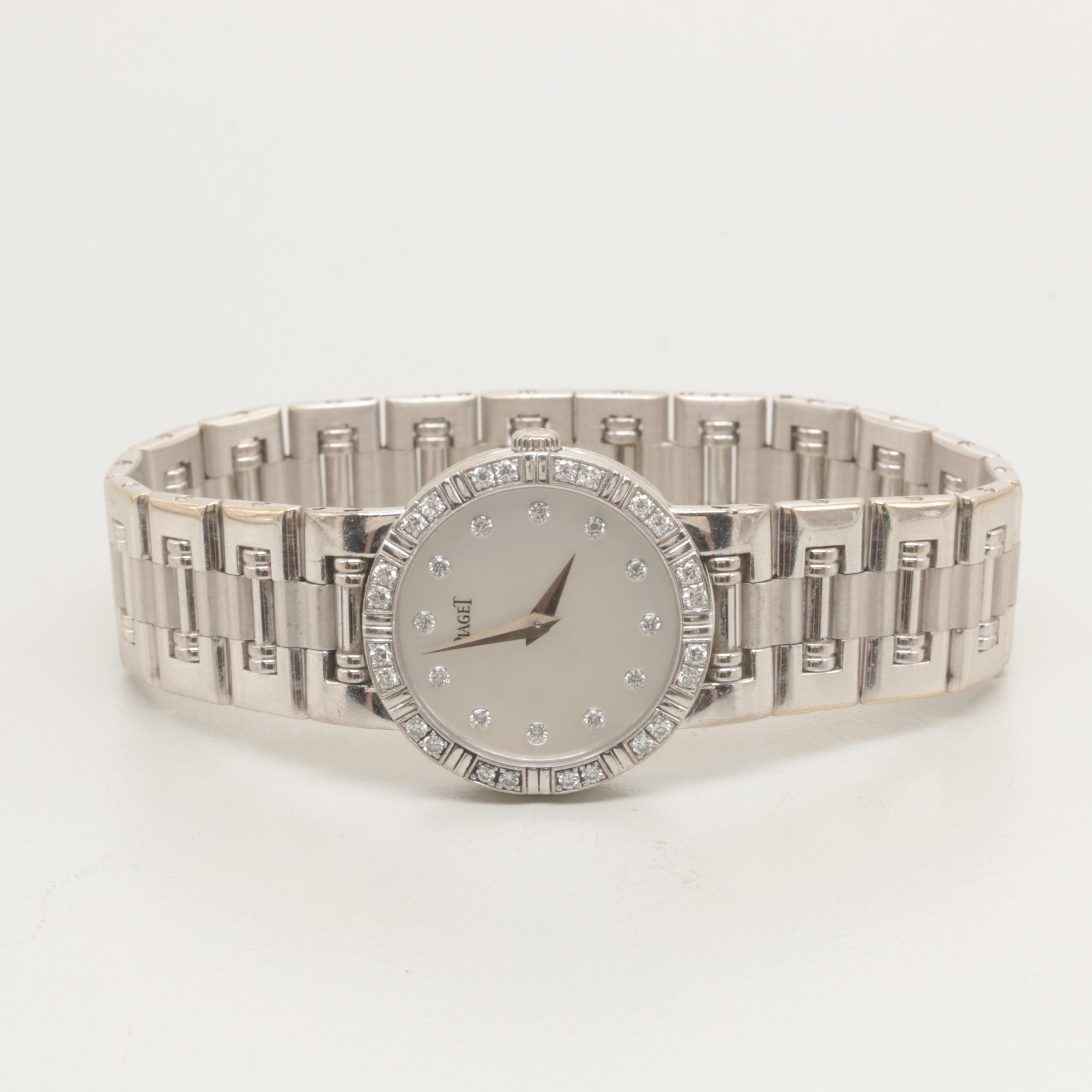 "Piaget 18K White Gold Diamond ""Dancer"" Wristwatch"
