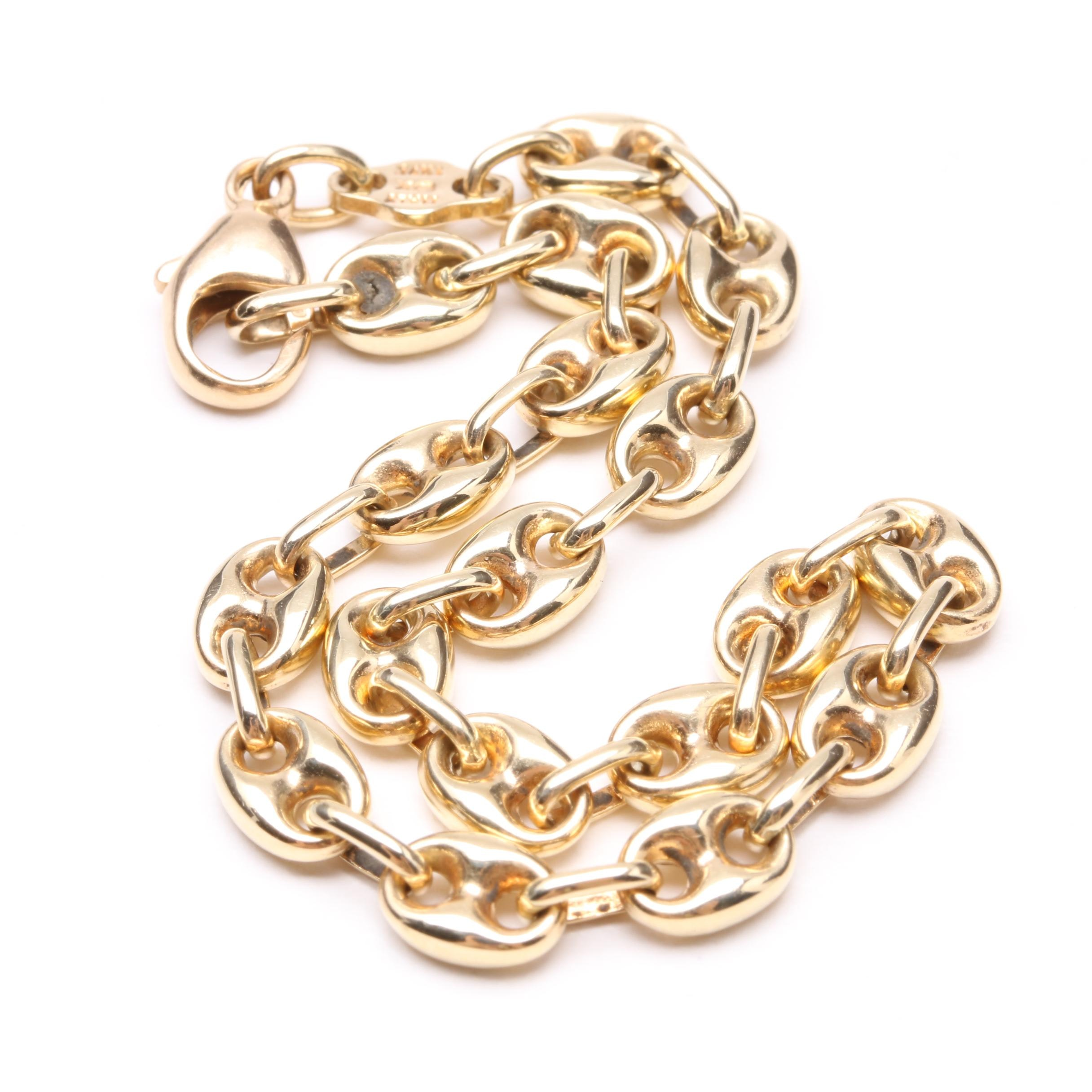Italian 14K Yellow Gold Mariner Chain Bracelet
