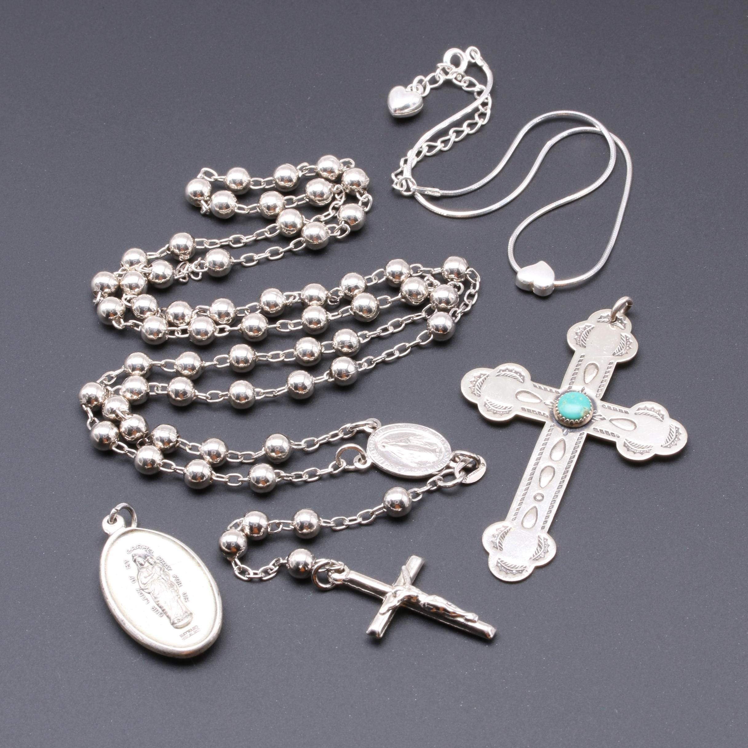 Sterling Silver Anklet, Rosary, Mother Mary Pendant and Turquoise Cross Pendant.