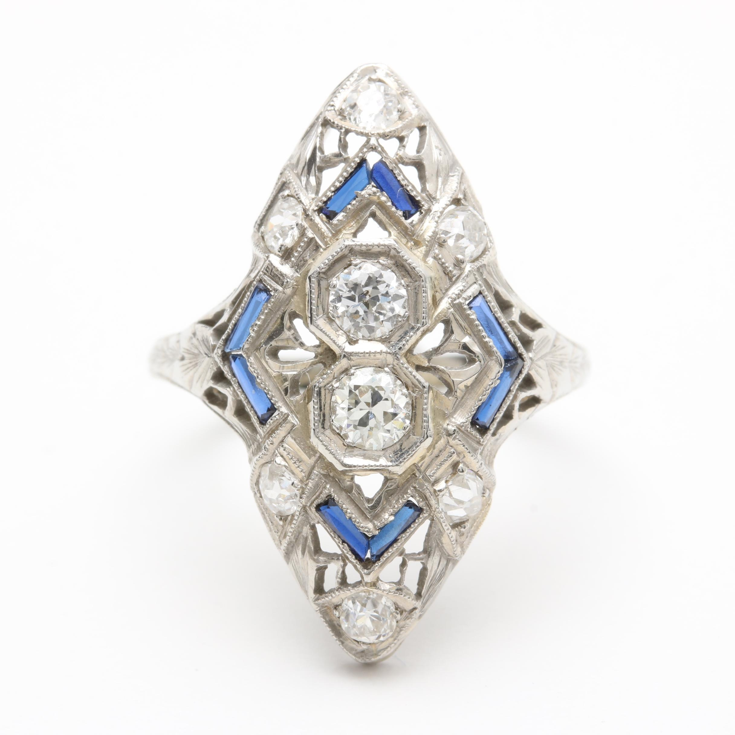 Edwardian 18K White Gold Diamond and Synthetic Sapphire Ring