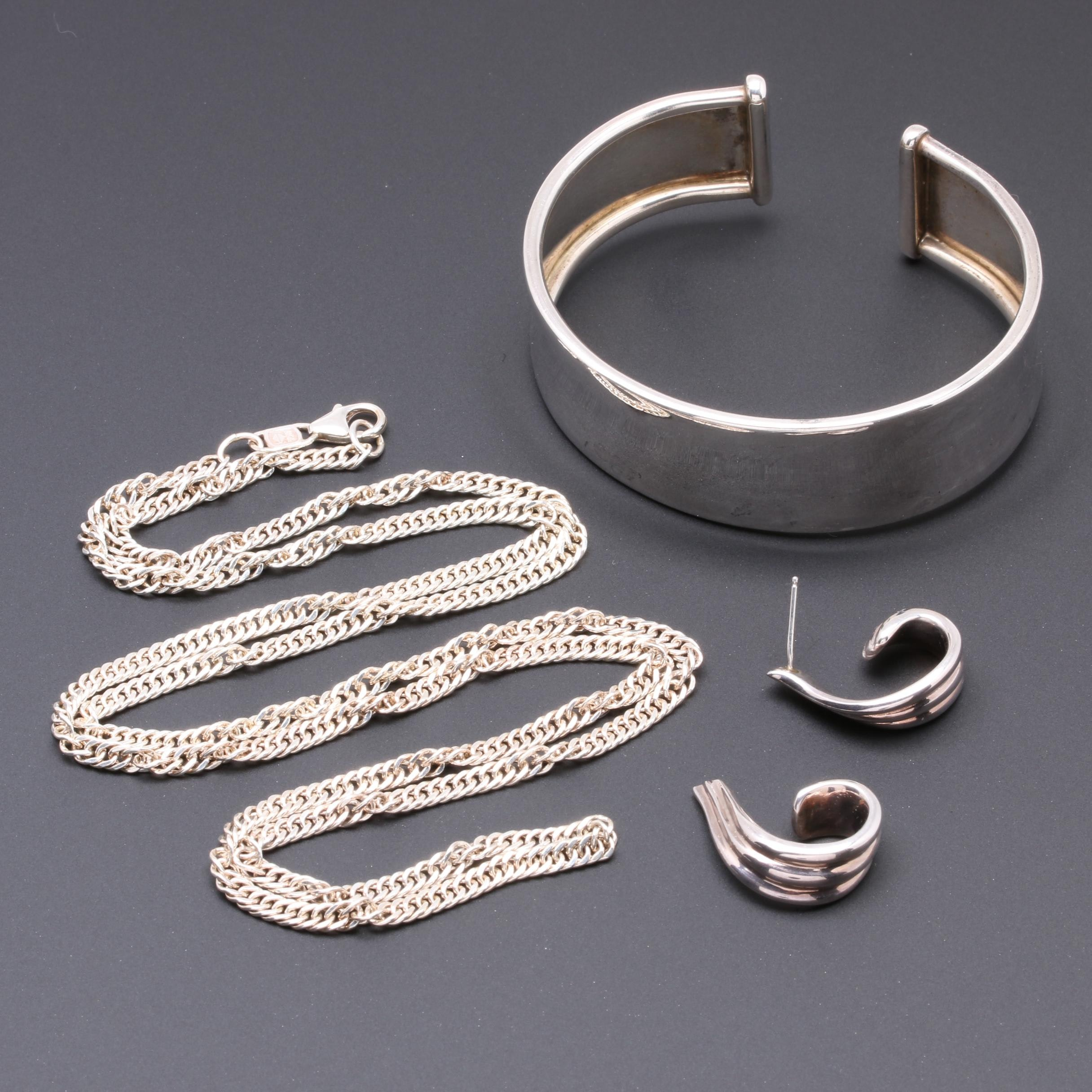 Fine Silver Earrings, Chain Necklace and Cuff Bracelet