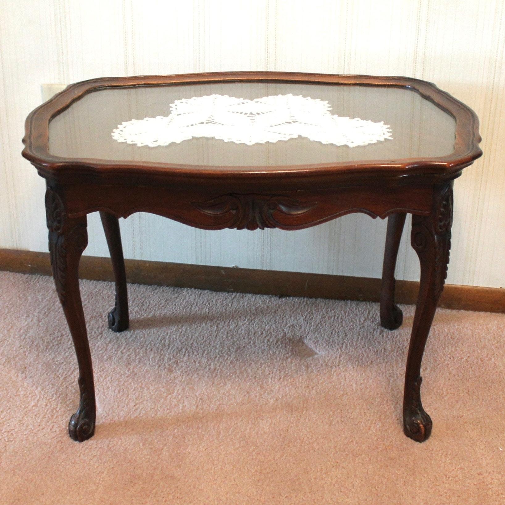Vintage Glass Top Walnut Tea Table