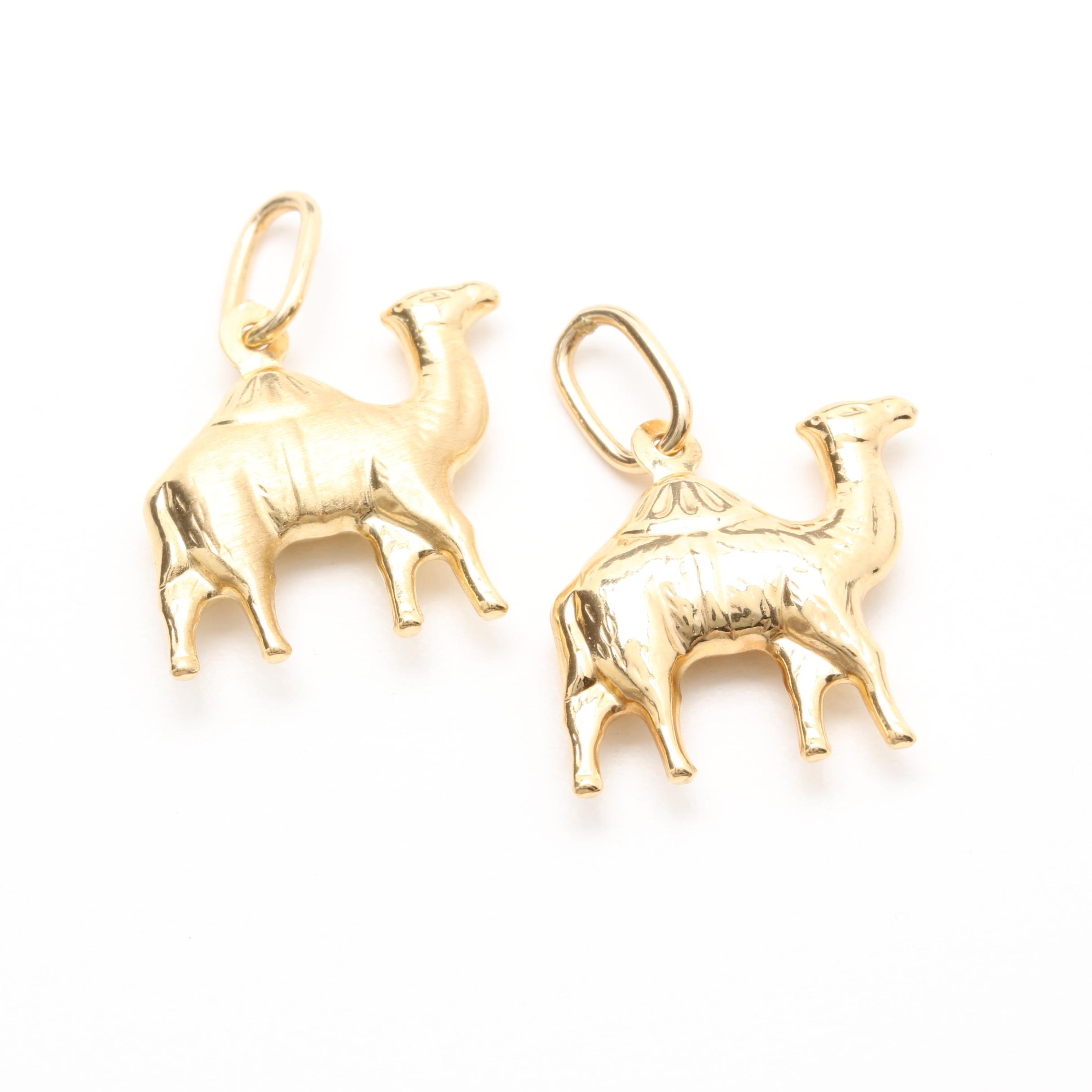 18K Yellow Gold Camel Pendants