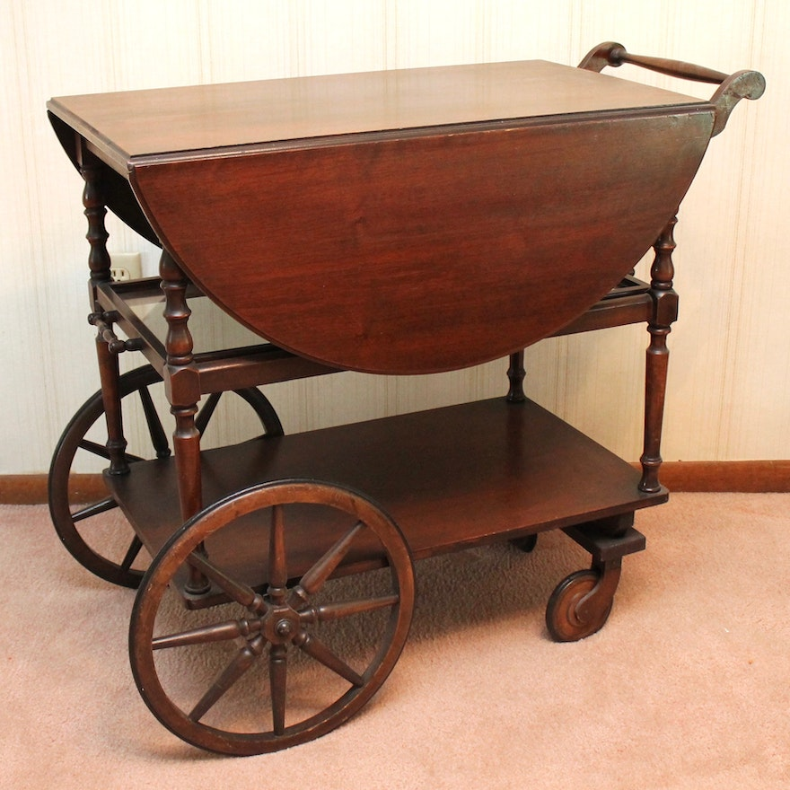 Vintage Mahogany Veneer Tea Cart With Glass Serving Tray