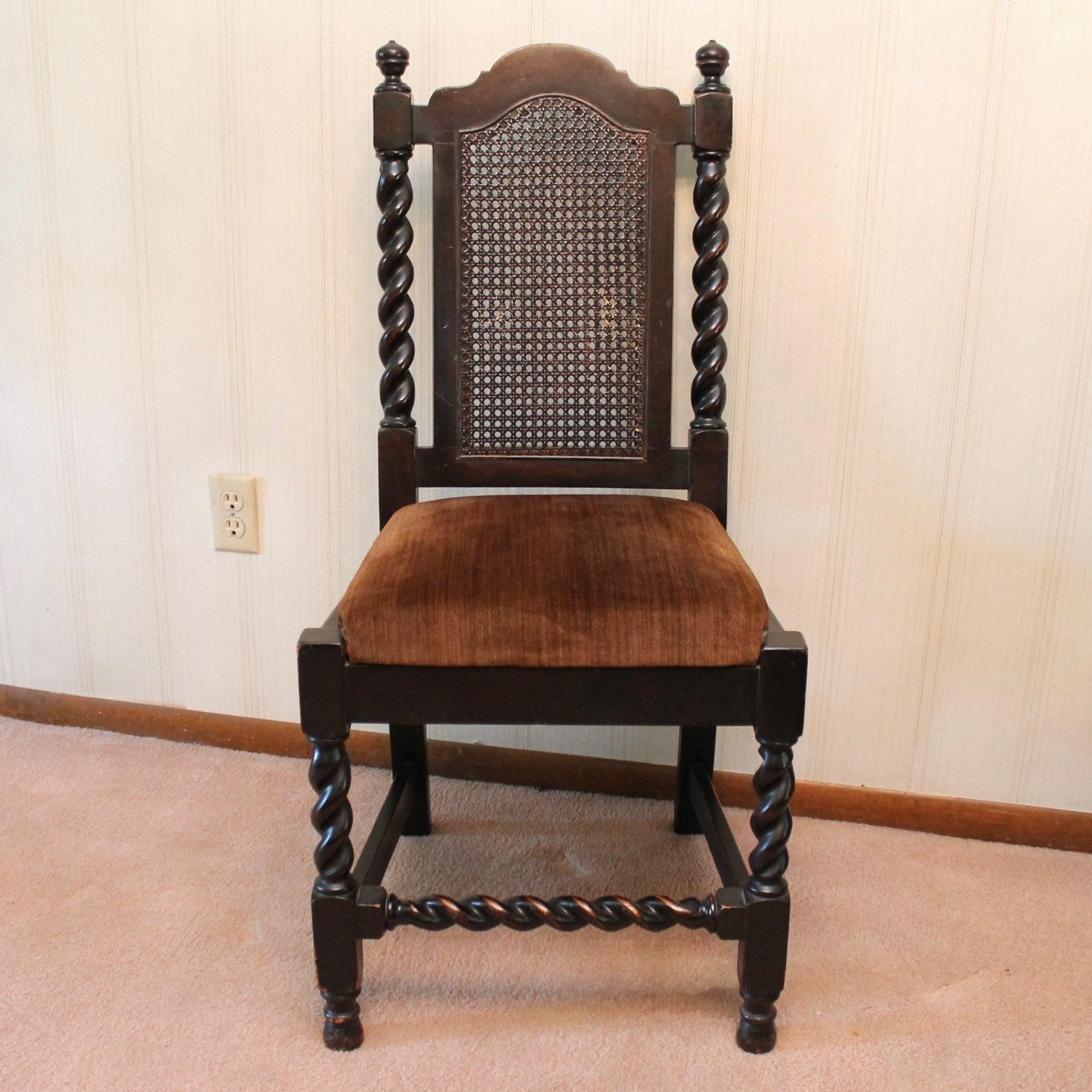 Antique Cane Back Barley Twist Chair