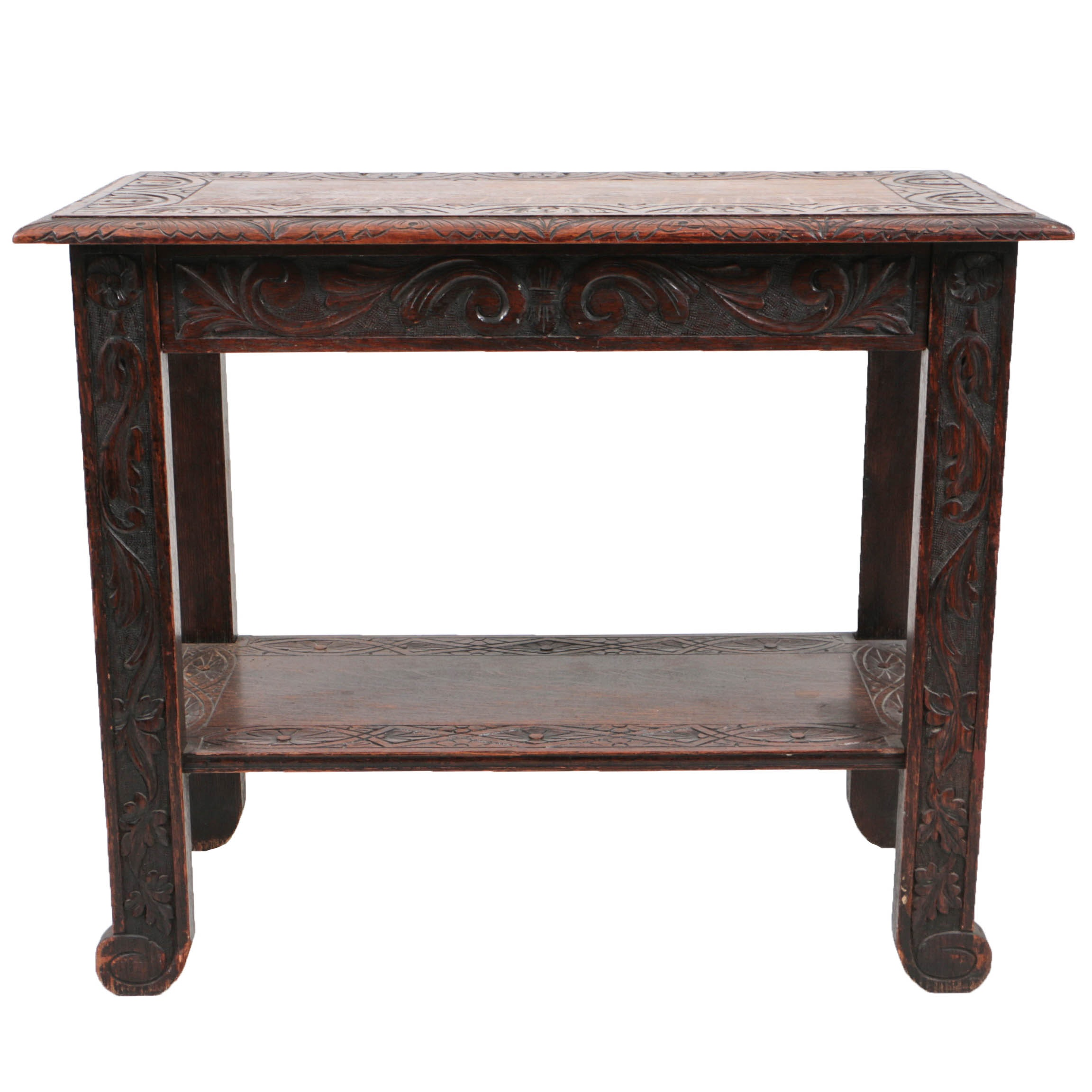 Antique Jacobean Style Carved Oak Console Table with Drawer