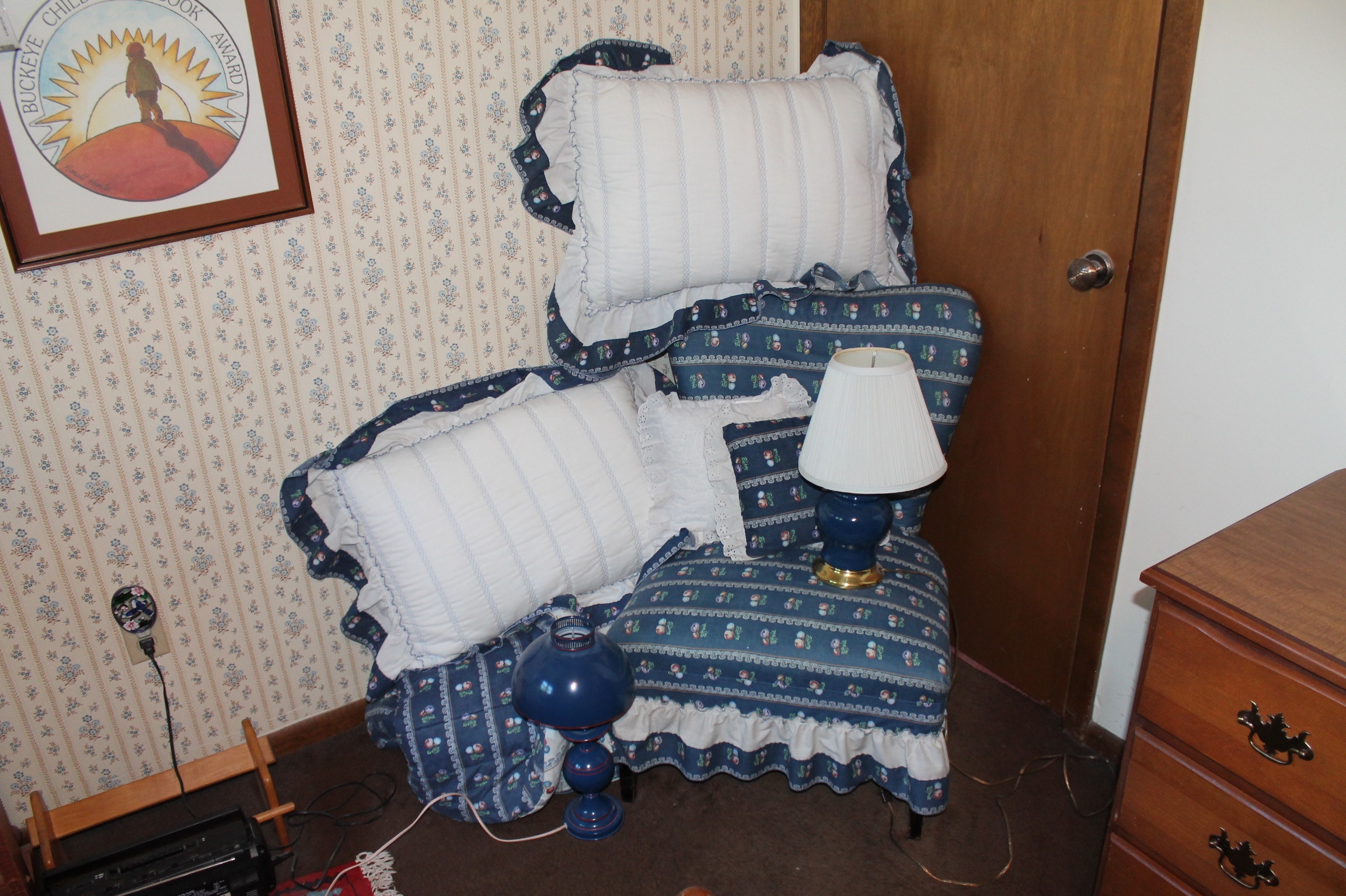 Vintage Chair, Bed Linens, and Table Lamps